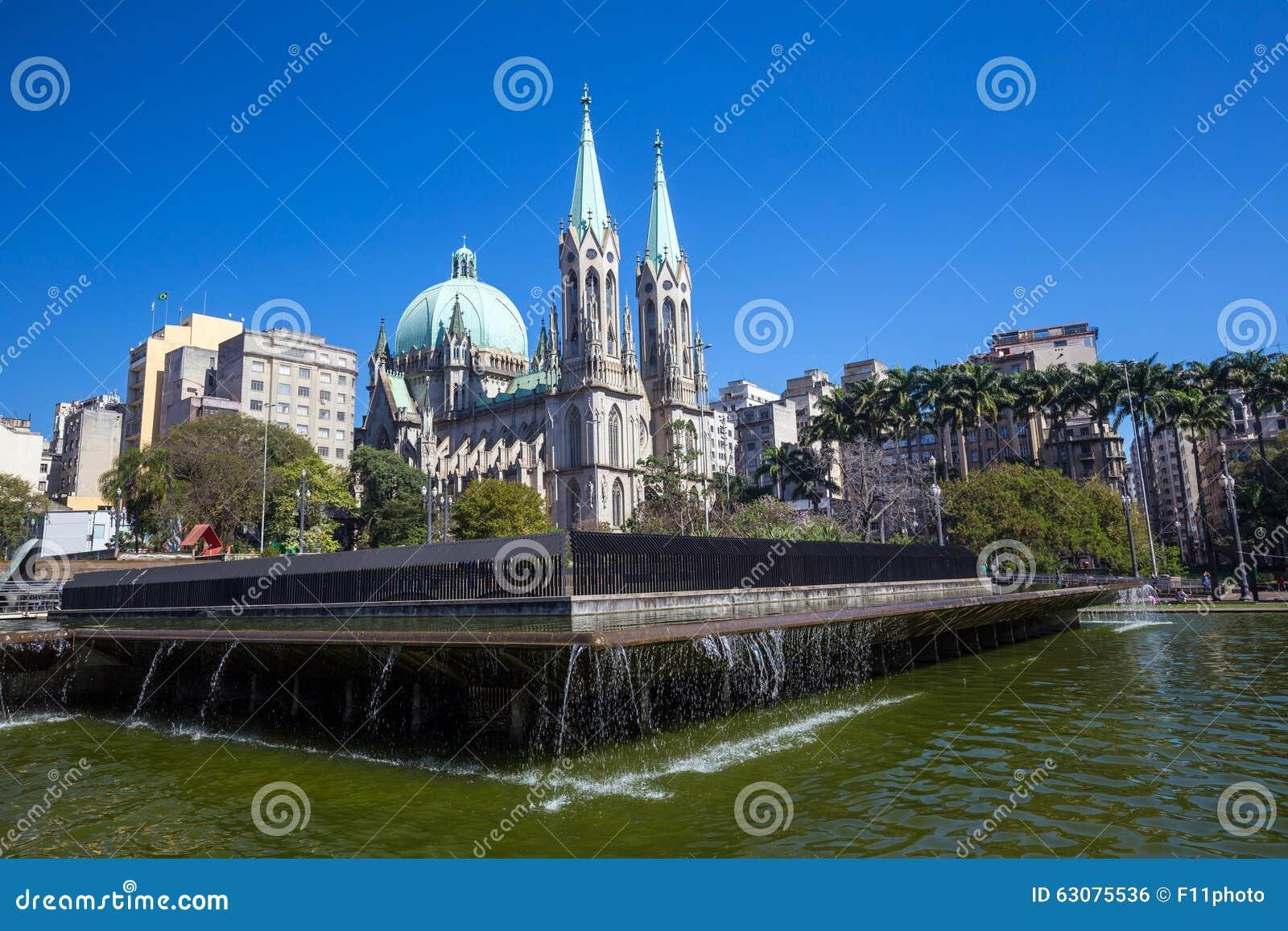 Download Cathédrale De Se à Sao Paulo Du Centre Photo stock - Image du histoire, public: 63075536