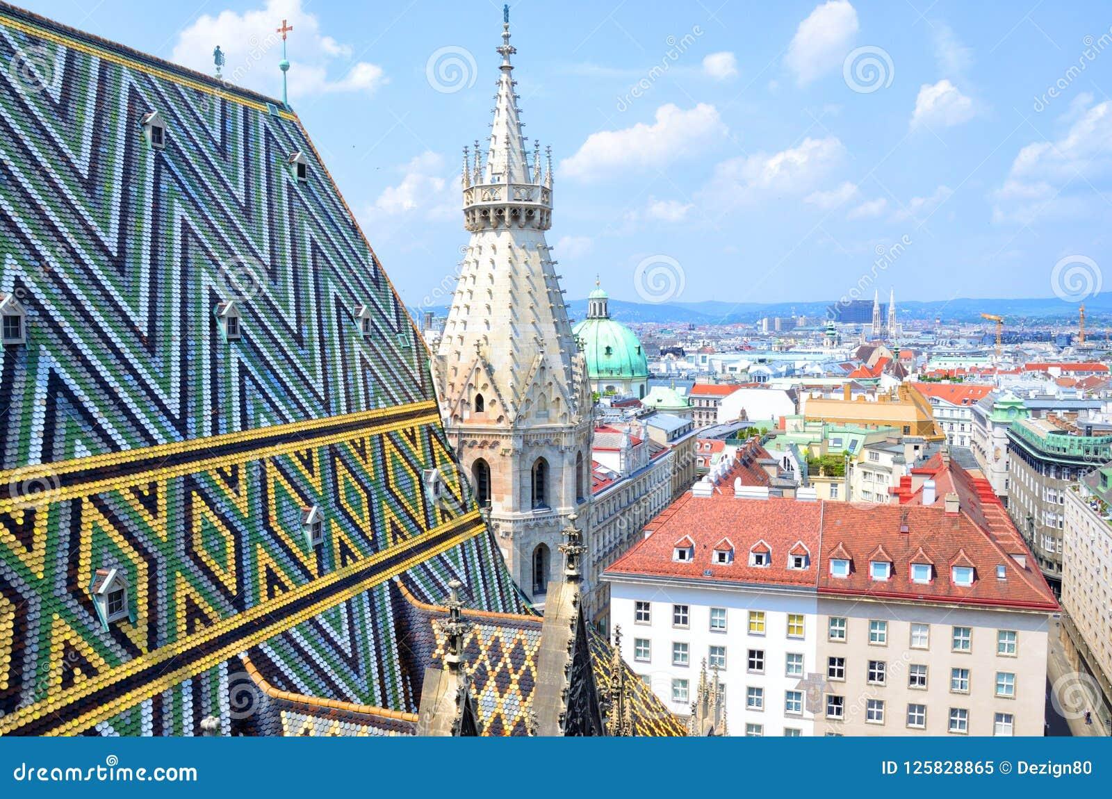 Cathédrale de Stephansdom à partir de son dessus à Vienne, Autriche