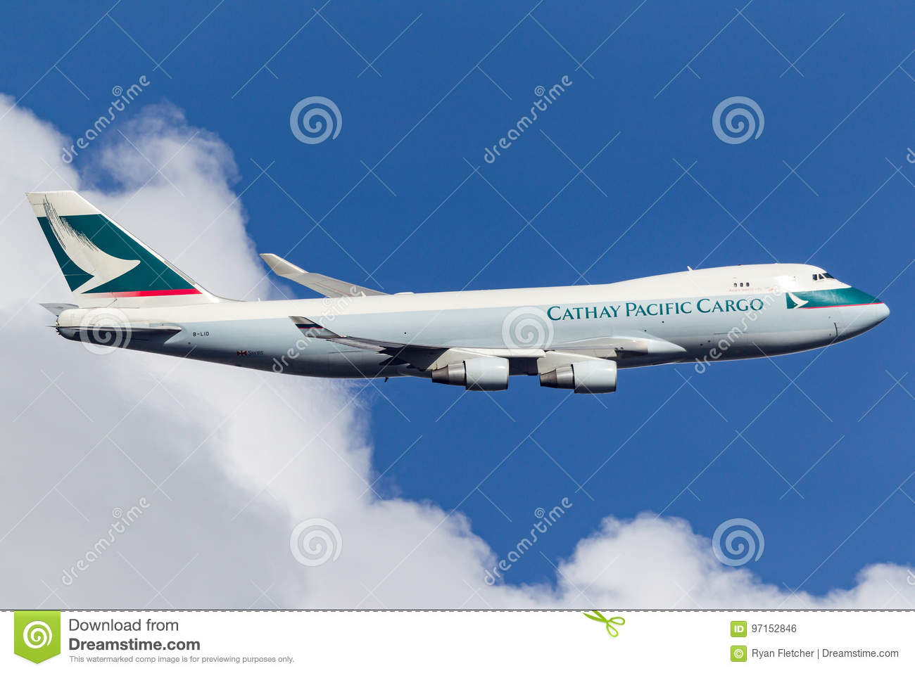 Cathay Pacific Airways Cargo Boeing 747-467F/ER-SCD B-LID departing Melbourne International Airport.