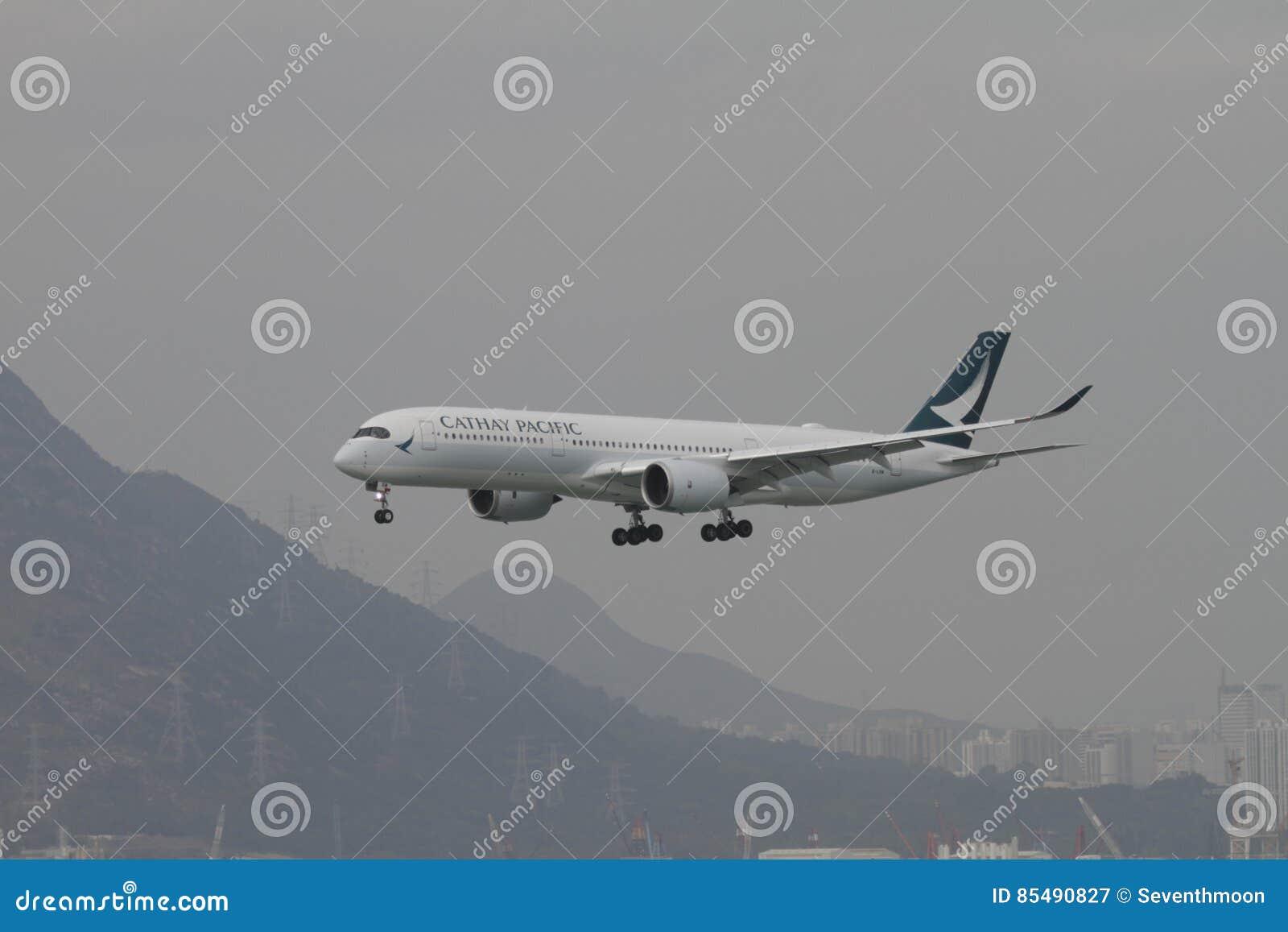Cathay Pacific A350 Flight Landing Hong Kong