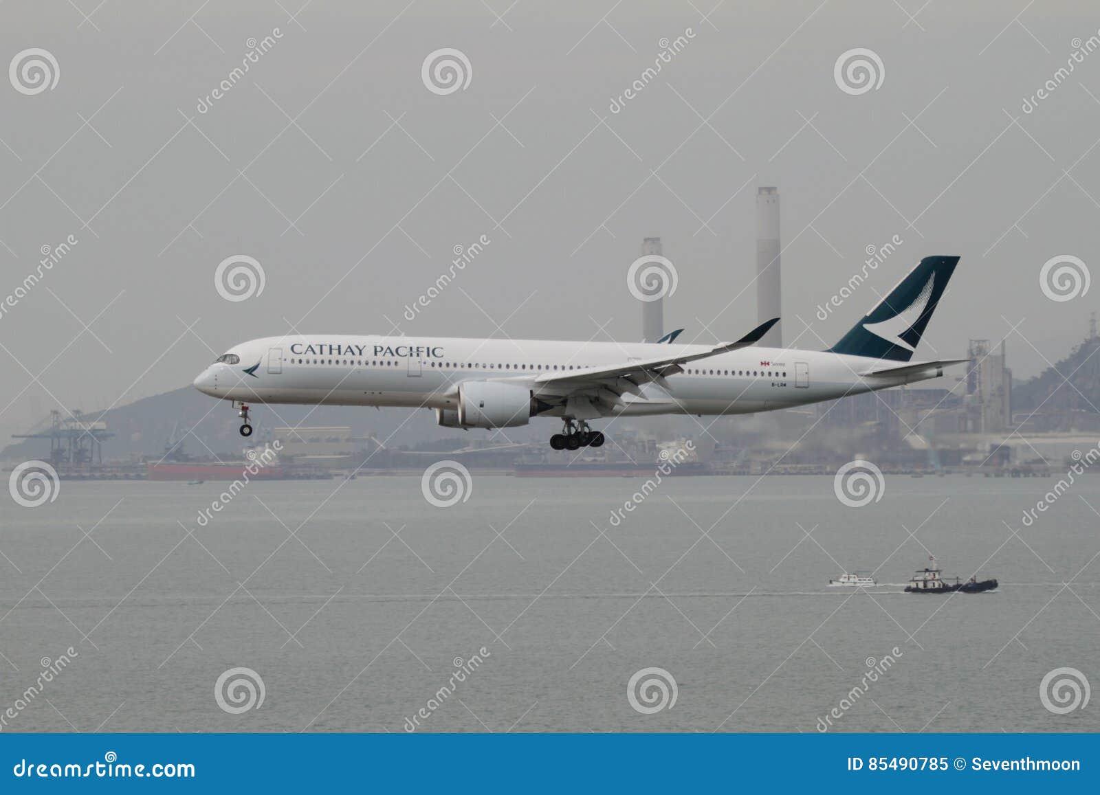 Cathay Pacific A350 flyg som landar Hong Kong
