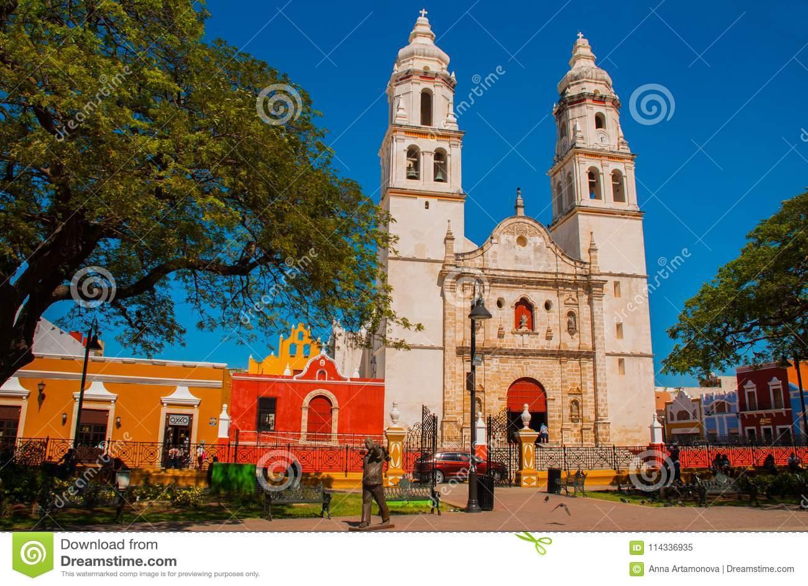Cathedral, Campeche, Mexico: Plaza de la Independencia, in Campeche, Mexico`s Old Town of San Francisco de Campeche