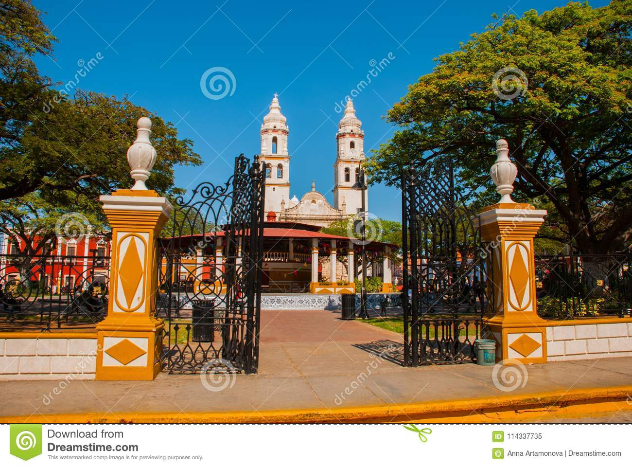 Cathedral, Campeche, Mexico: Plaza de la Independencia, in Campeche, Mexico`s Old Town of San Francisco de Campeche