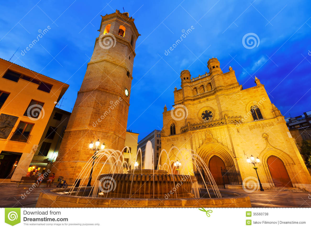 Castellon de la Plana Spain  city pictures gallery : Cathedral At Castellon De La Plana In Night. Spain Royalty Free Stock ...