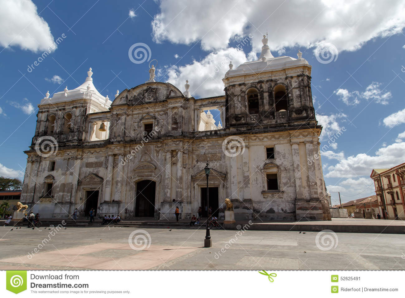 Cathedral with cloudy sky in Leon, Nicaragua