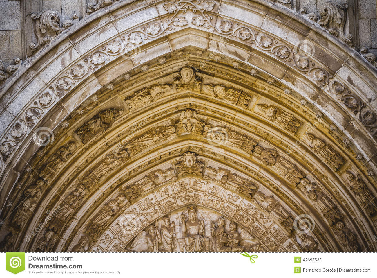 cathedral facace tourism toledo most famous city in spain stock