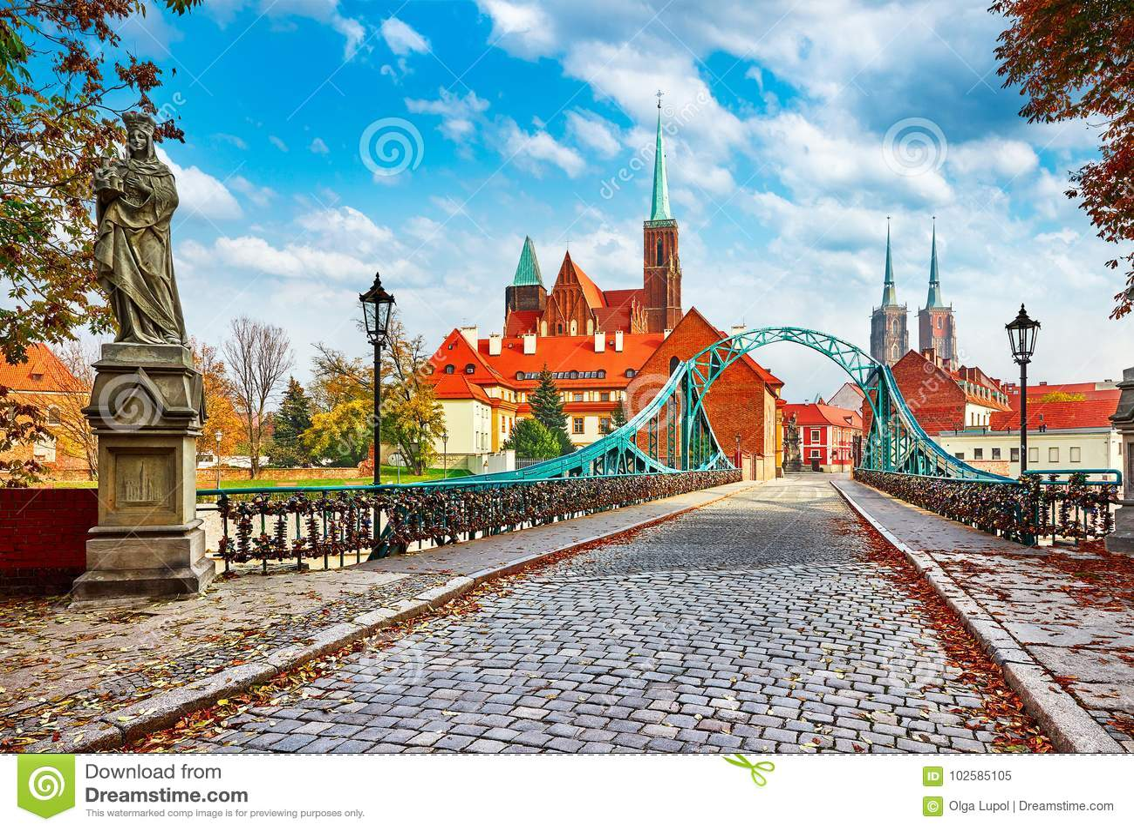 Cathedral Island in Wroclaw Poland green bridge