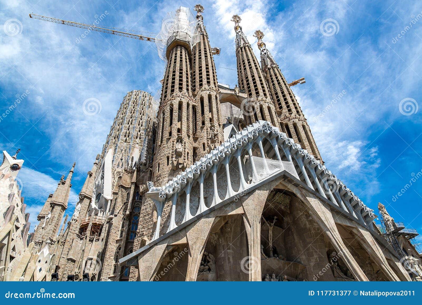 The Cathedral of La Sagrada Familia by the architect Antonio Gaudi, Catalonia, Barcelona Spain - May 15, 2018.
