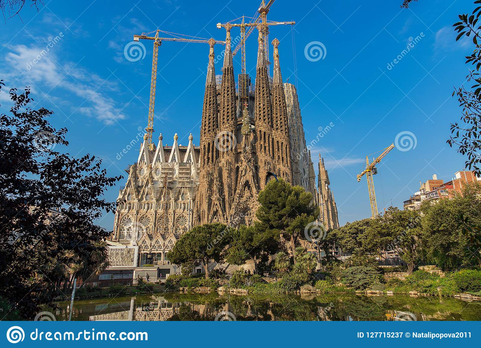 The Cathedral of La Sagrada Familia by the architect Antonio Gaudi, Catalonia, Barcelona Spain - May 17, 2018.