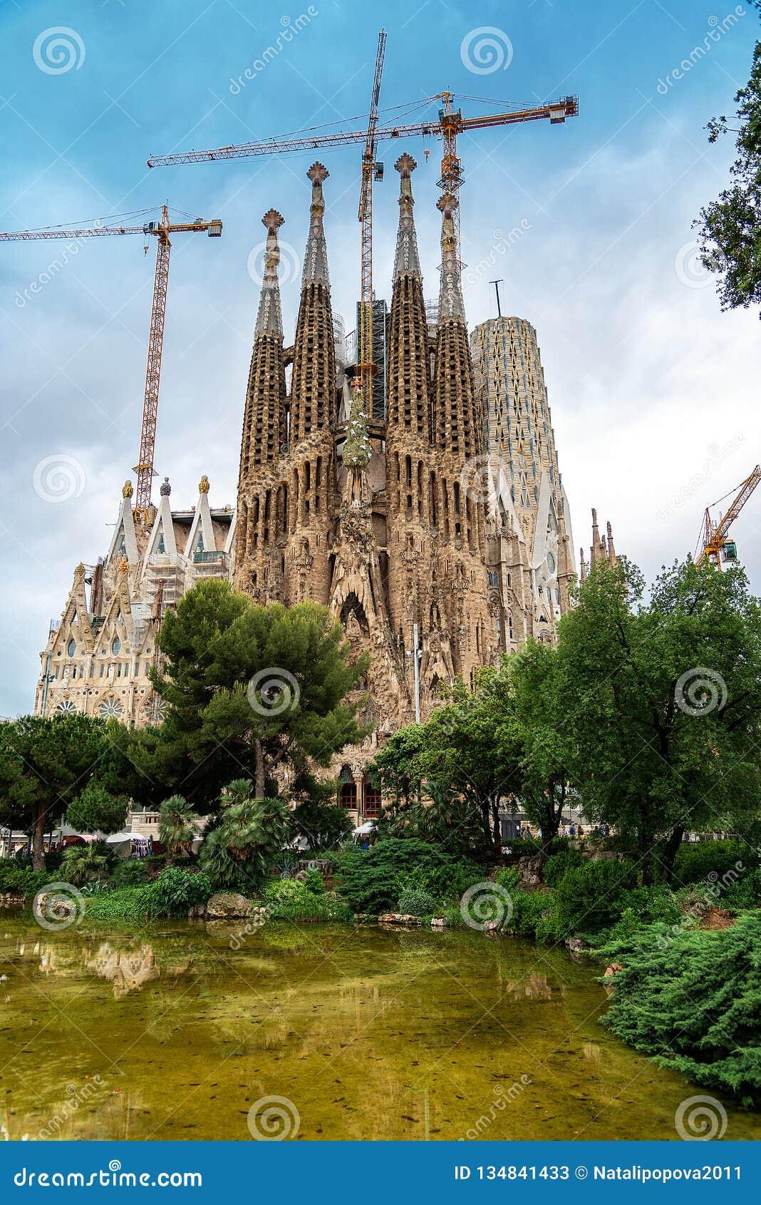 The Cathedral of La Sagrada Familia by the architect Antonio Gaudi, Catalonia, Barcelona Spain - May 13, 2018