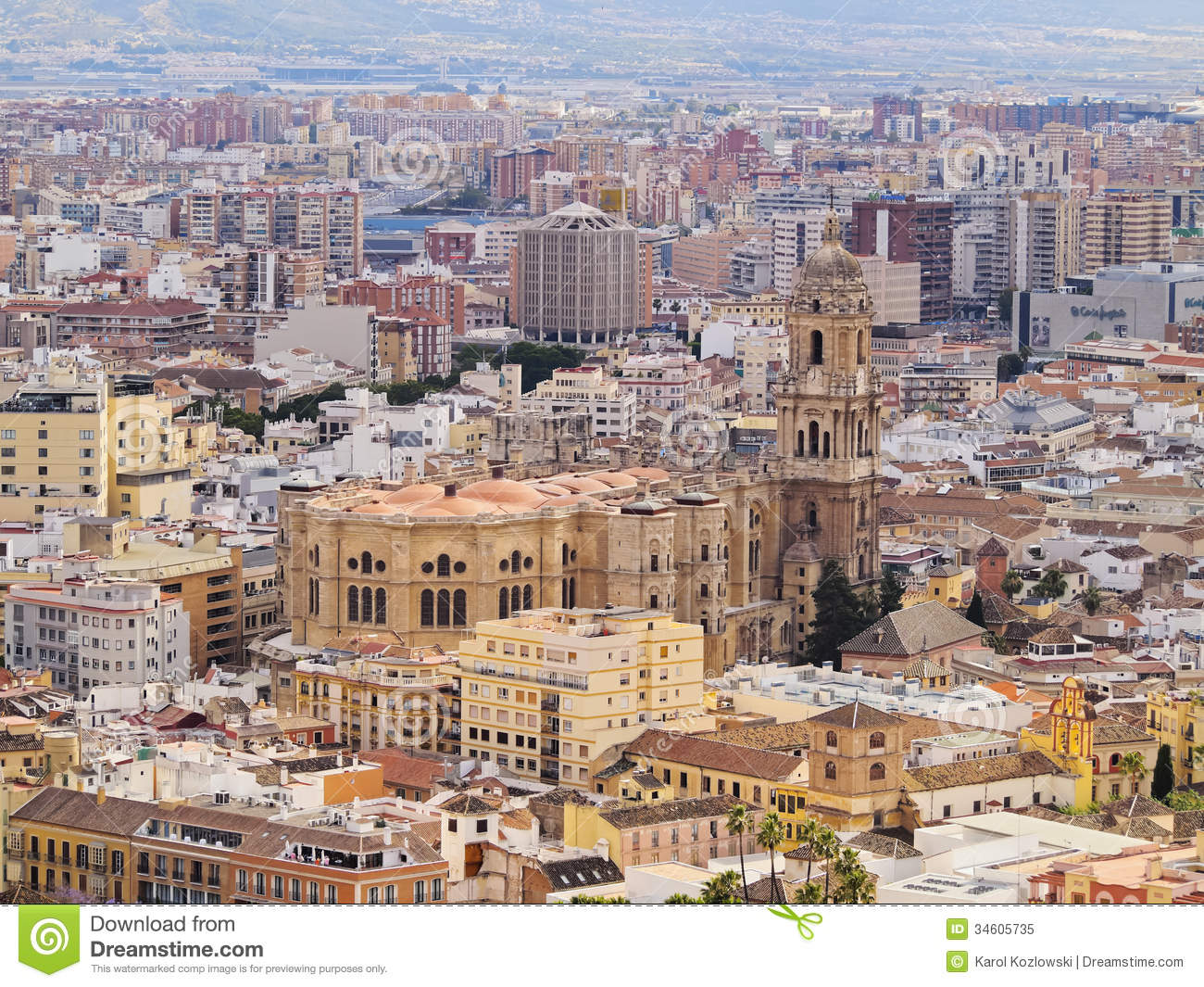 cathedral in malaga spain stock image image of mediterranean 34605735. Black Bedroom Furniture Sets. Home Design Ideas