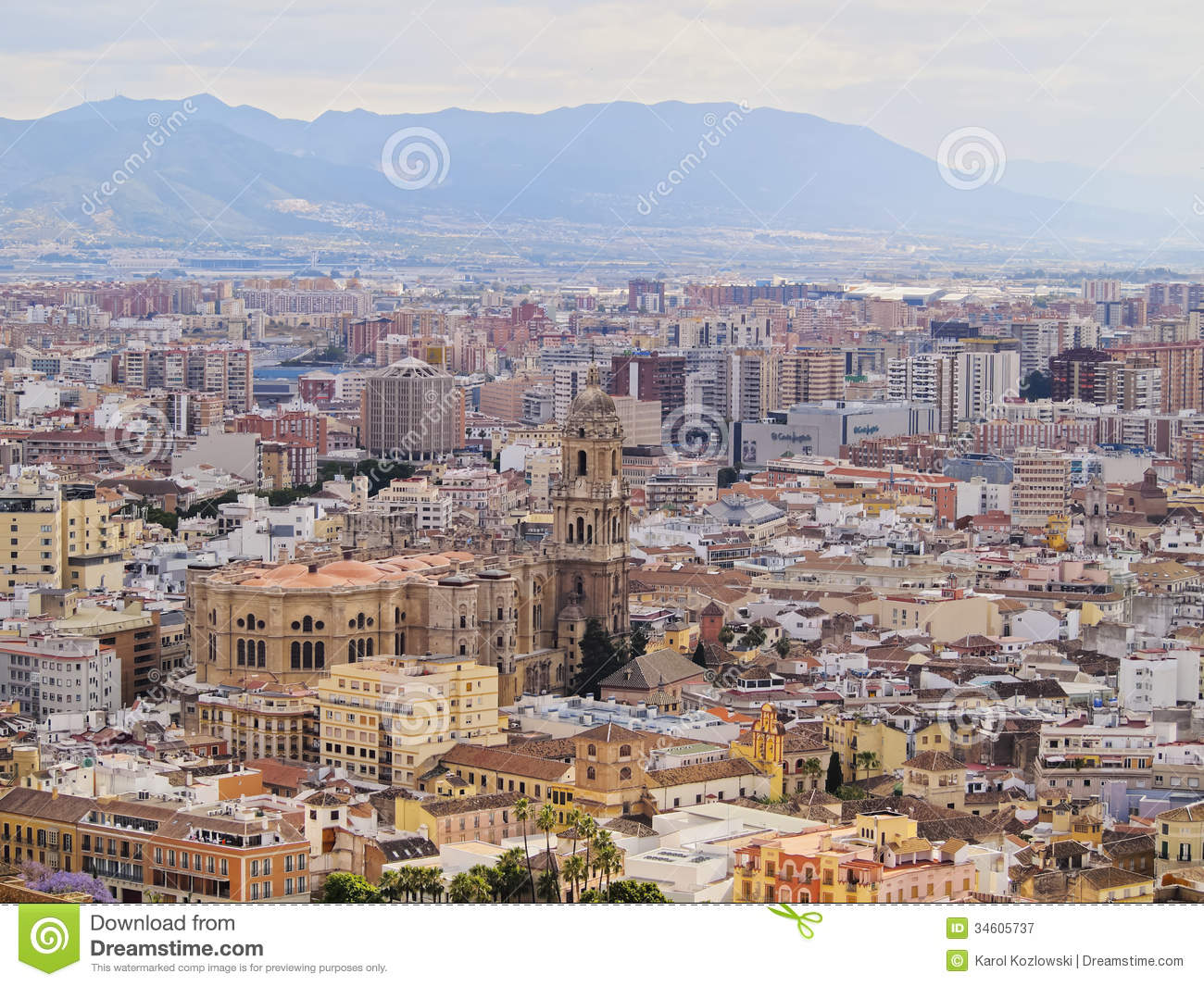 cathedral in malaga spain royalty free stock photography image 34605737. Black Bedroom Furniture Sets. Home Design Ideas