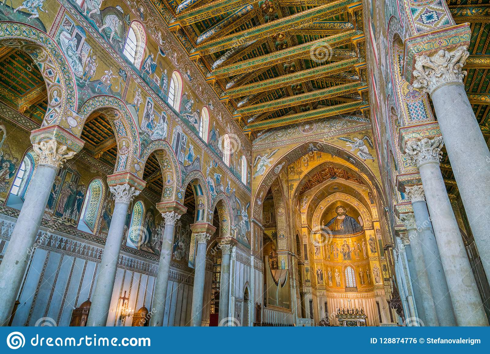 Indoor sight in the Cathedral of Monreale, in the province of Palermo. Sicily, southern Italy.