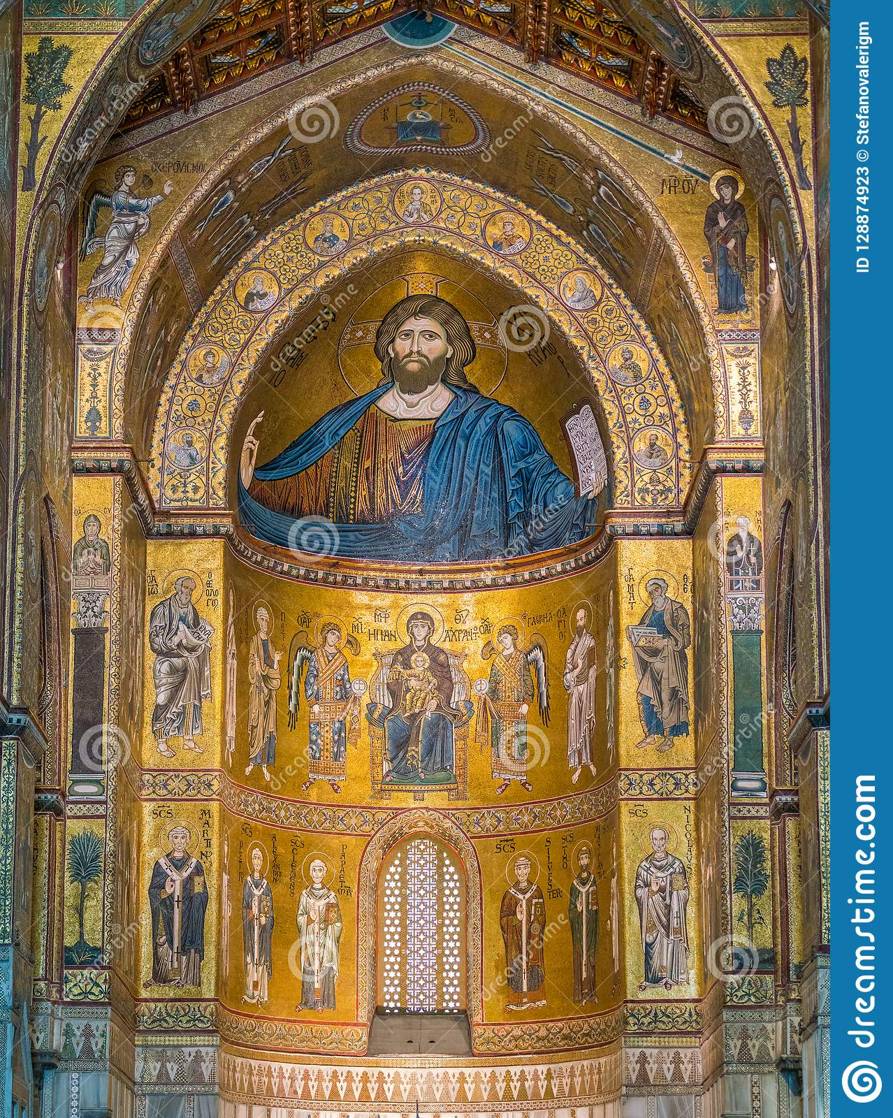 Golden mosaic in the apse of Cathedral of Monreale, in the province of Palermo. Sicily, southern Italy.