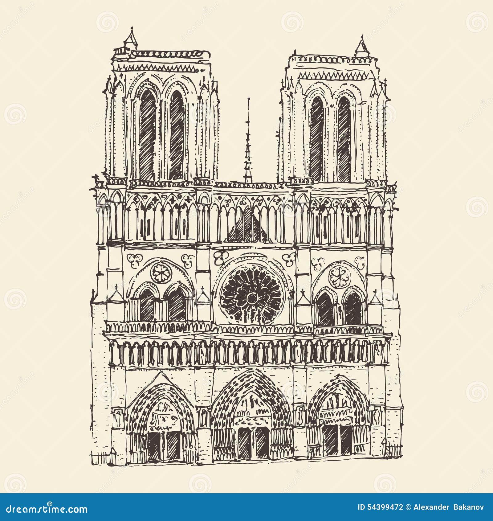 Notre Dame De Paris Disegno.Cathedral Of Notre Dame De Paris France Vintage Engraved