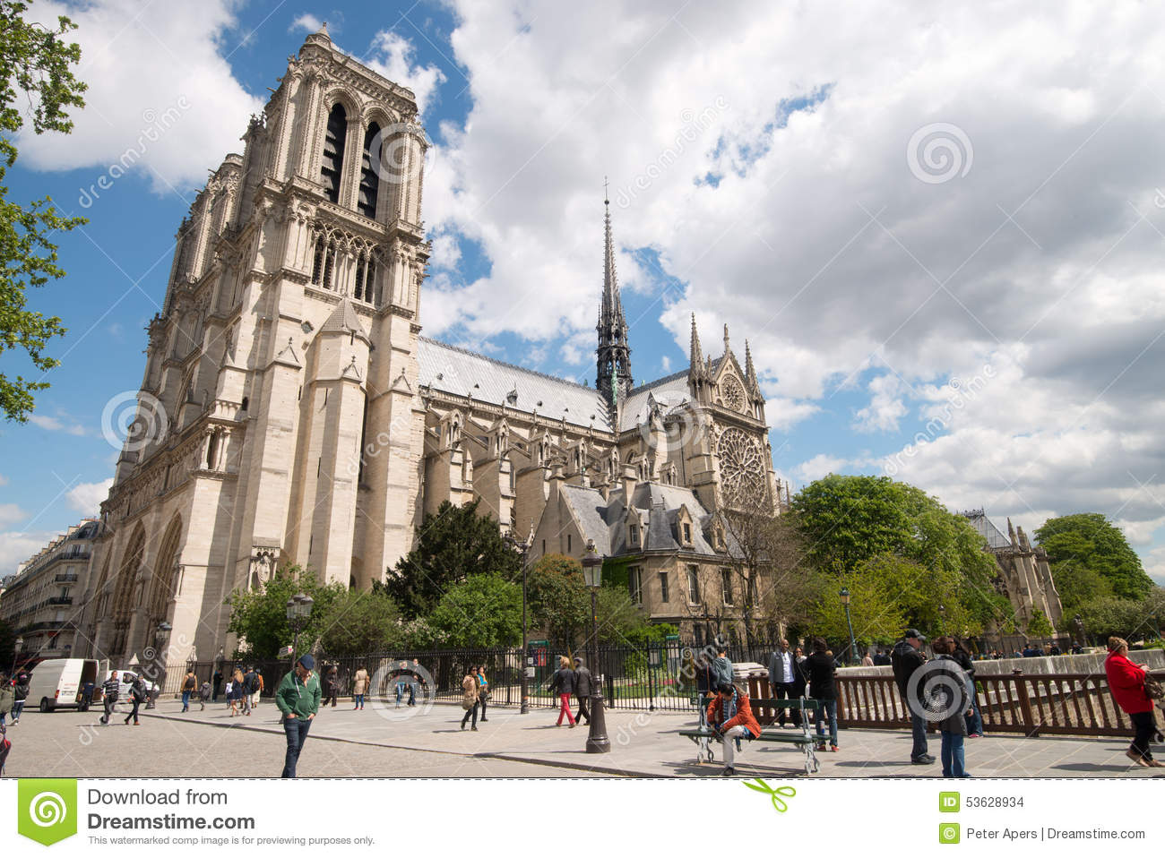 Download Cathedral Notre-Dame In Paris Editorial Stock Image - Image of clouds, notre: 53628934