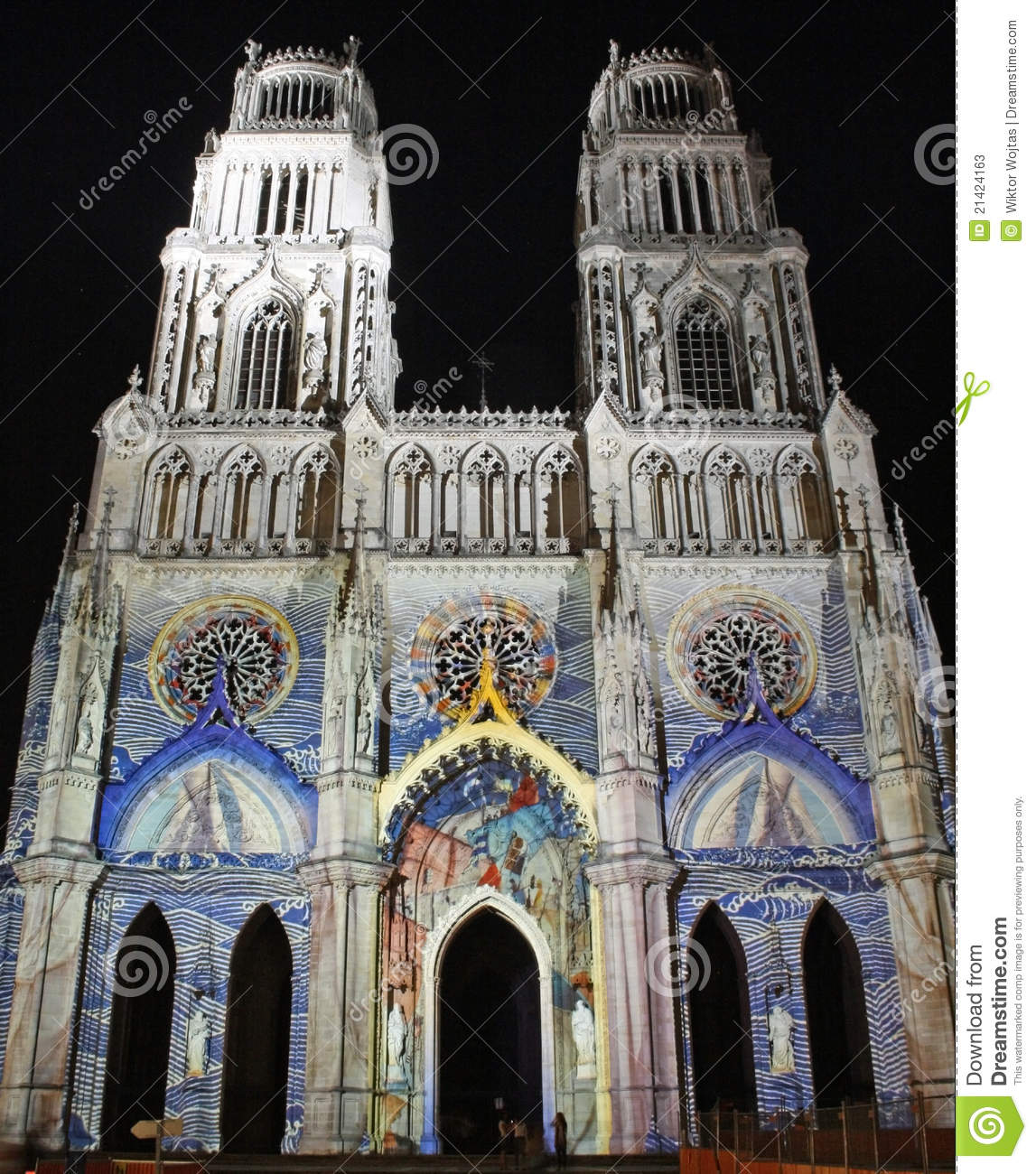cathedral in orleans france at night stock image image 21424163. Black Bedroom Furniture Sets. Home Design Ideas