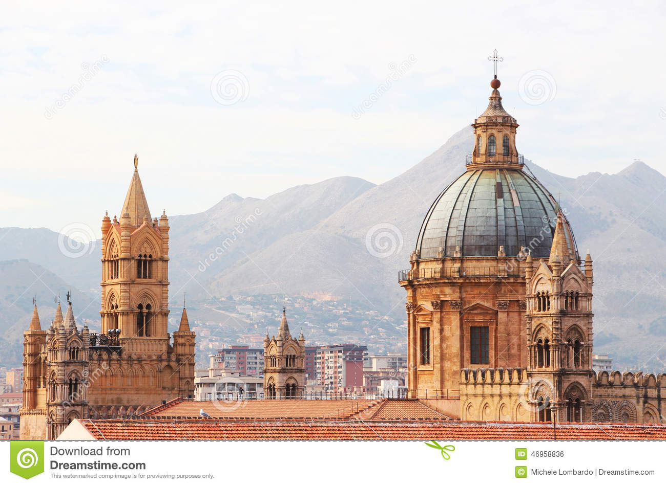 Cathedral of palermo, the dome and bell towers