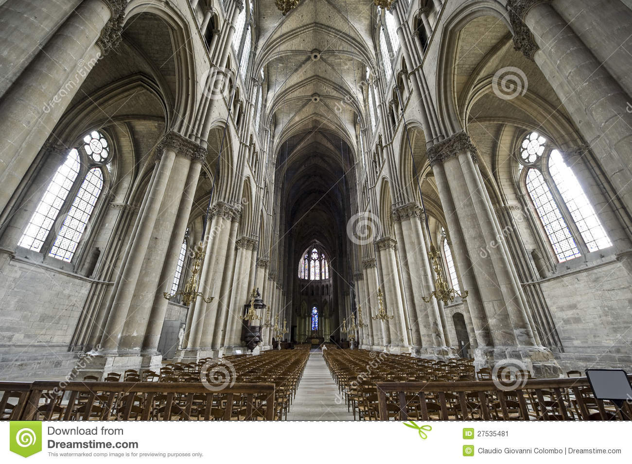Cathedral Of Reims - Interior Stock Image - Image of ...