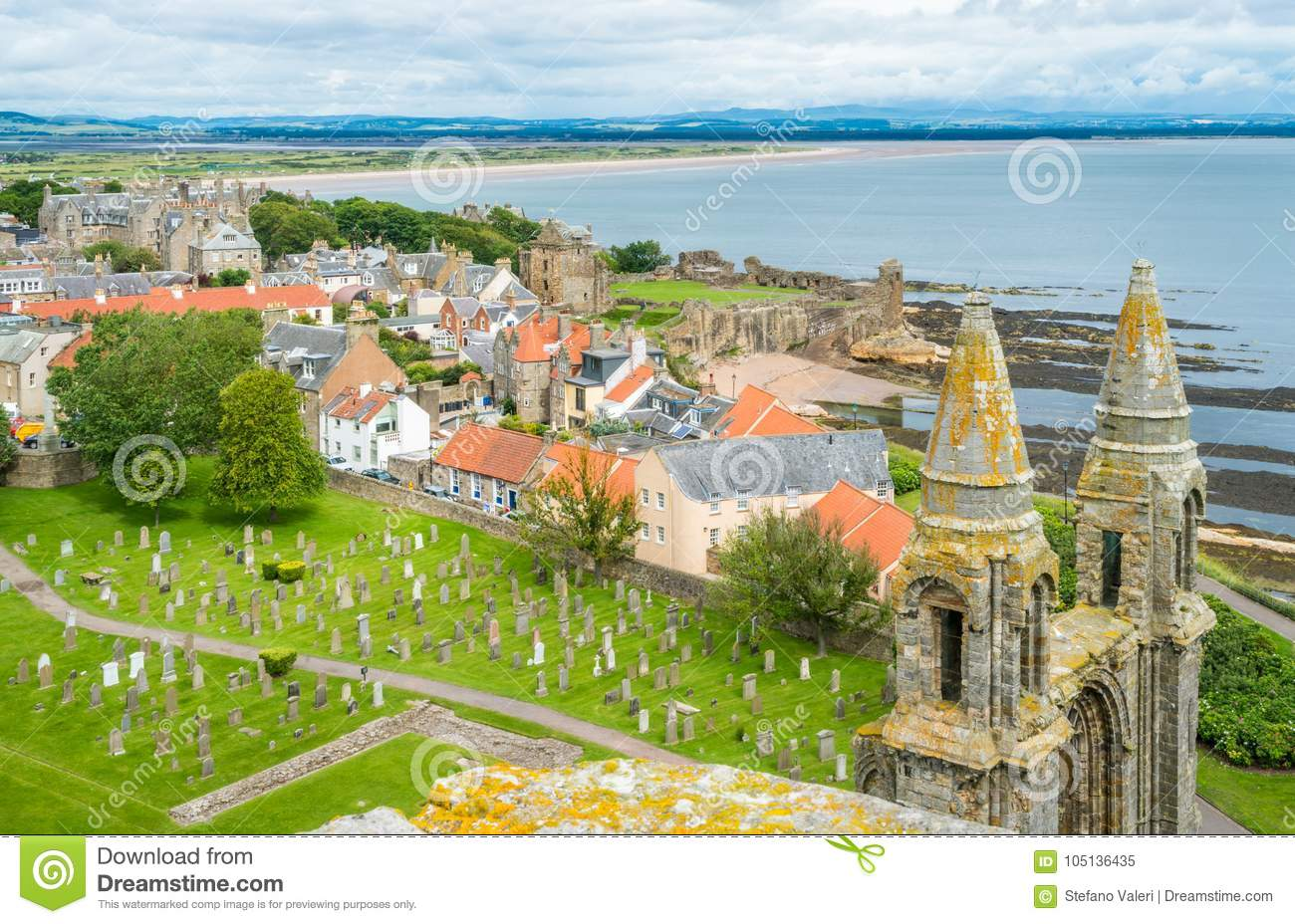 Panoramic view of Saint Andrews Cathedral, Scotland.