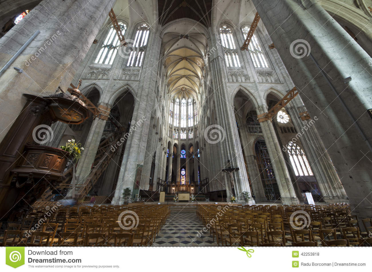 Cathedral St Pierre Of Beauvais Interior 06 Stock Photo