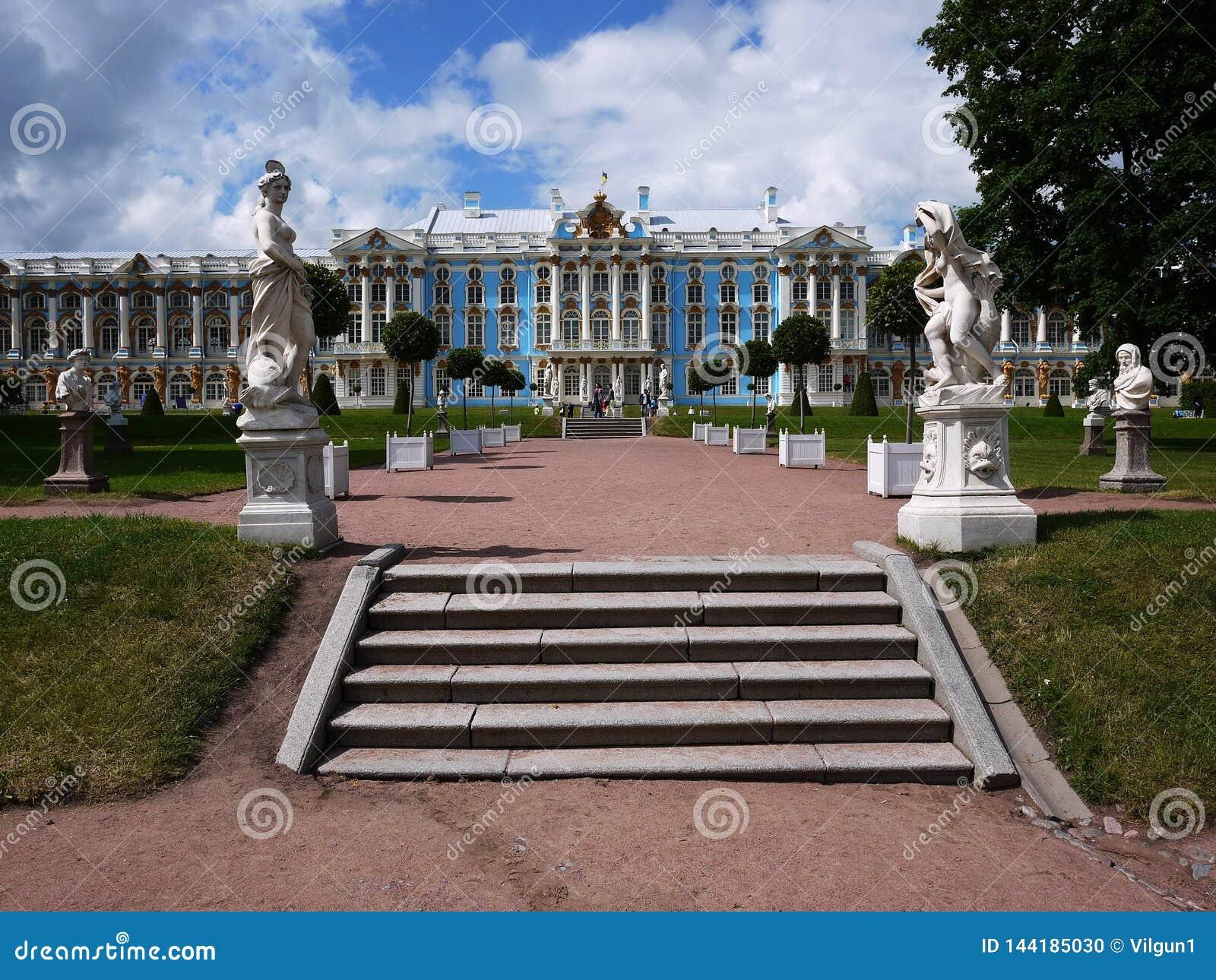 Catherine Park, Tsarskoye Selo Catherine Palace in Rusland, St. Petersburg, door toeristen die over de hele wereld wordt bezocht