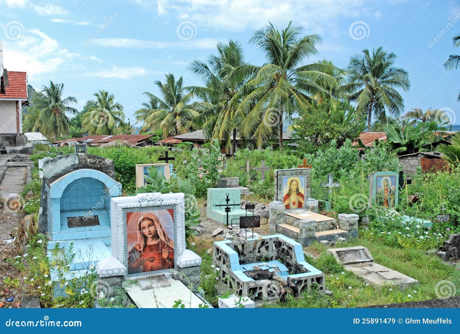 Catholic cemetery with gravestones, Indonesia