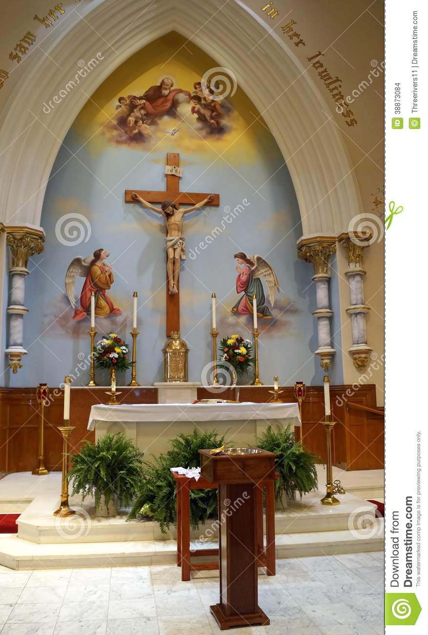 Similiar Church Sanctuary Interior With Stained Glass Designs Keywords - Home altar designs