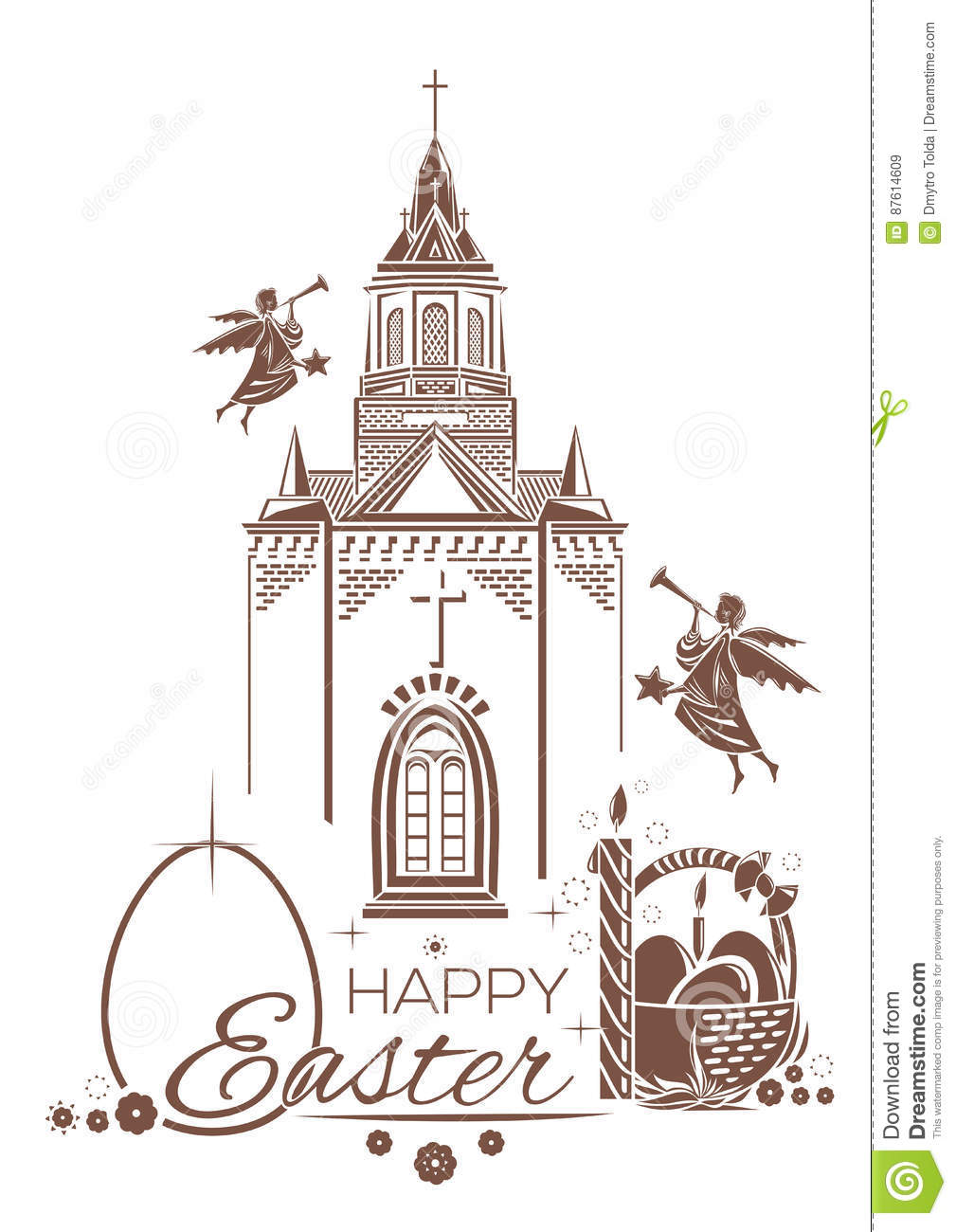 Catholic Church, burning candle, basket of Easter eggs, angels blow trumpets