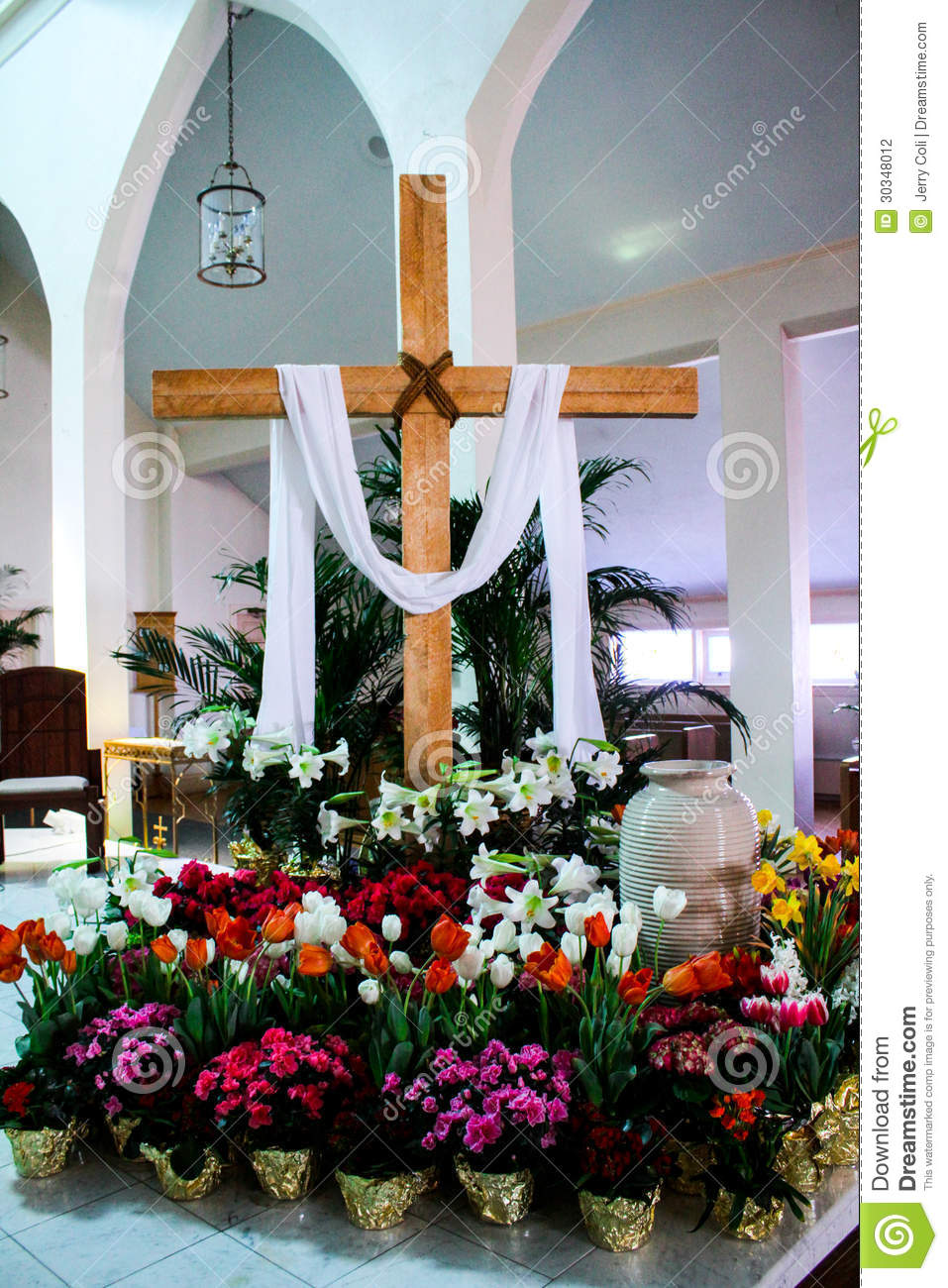 Catholic church decorated for easter editorial photography