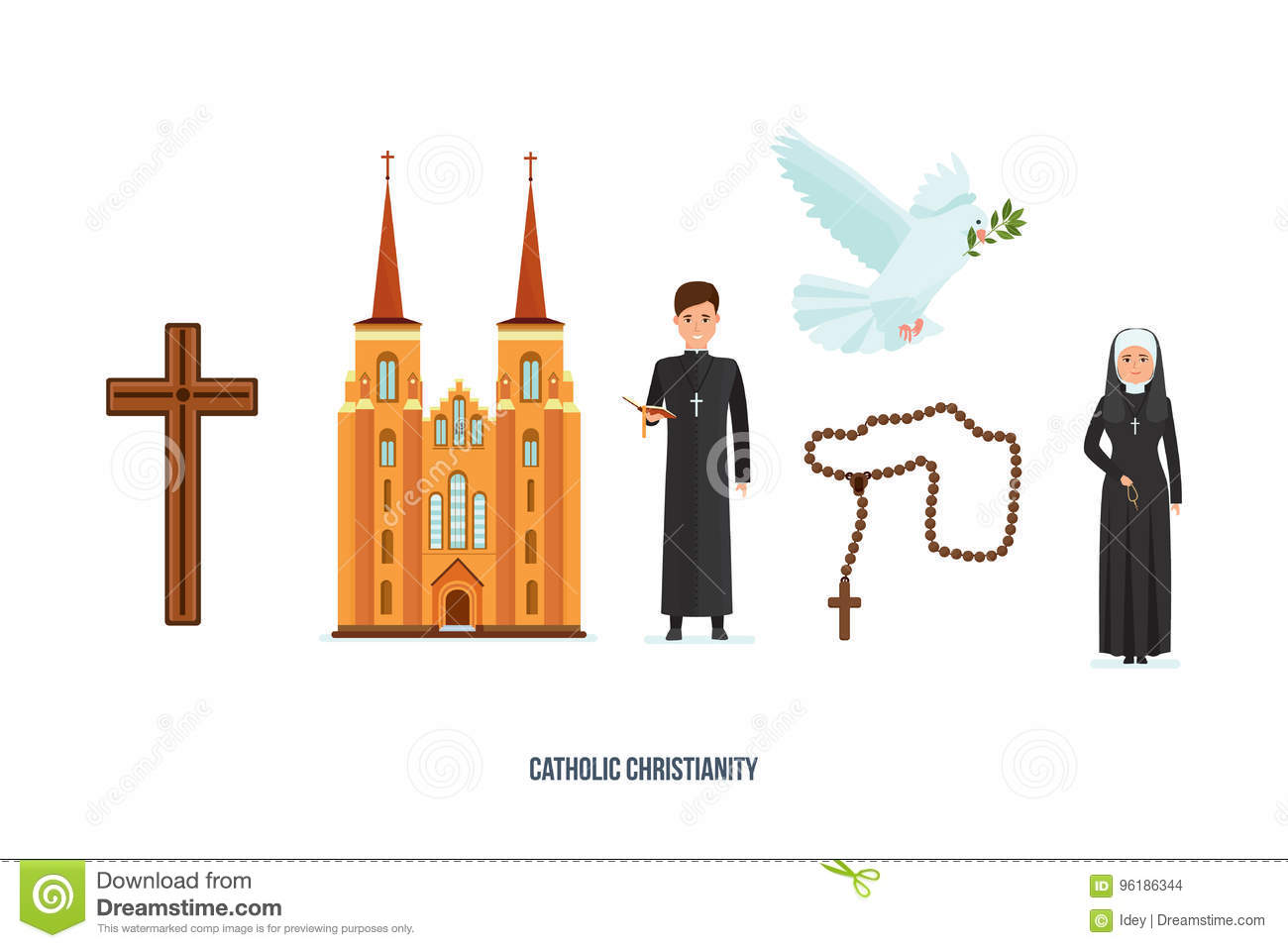 Catholic Cross Cathedral Priest And Nun Pigeon With Branch Deity