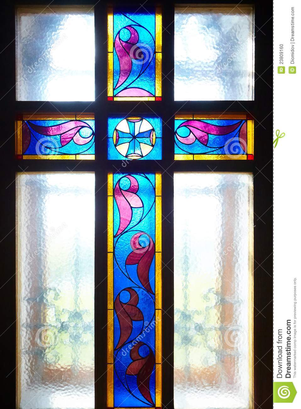 Catholic Cross On The Window Stained Glass Stock Photo
