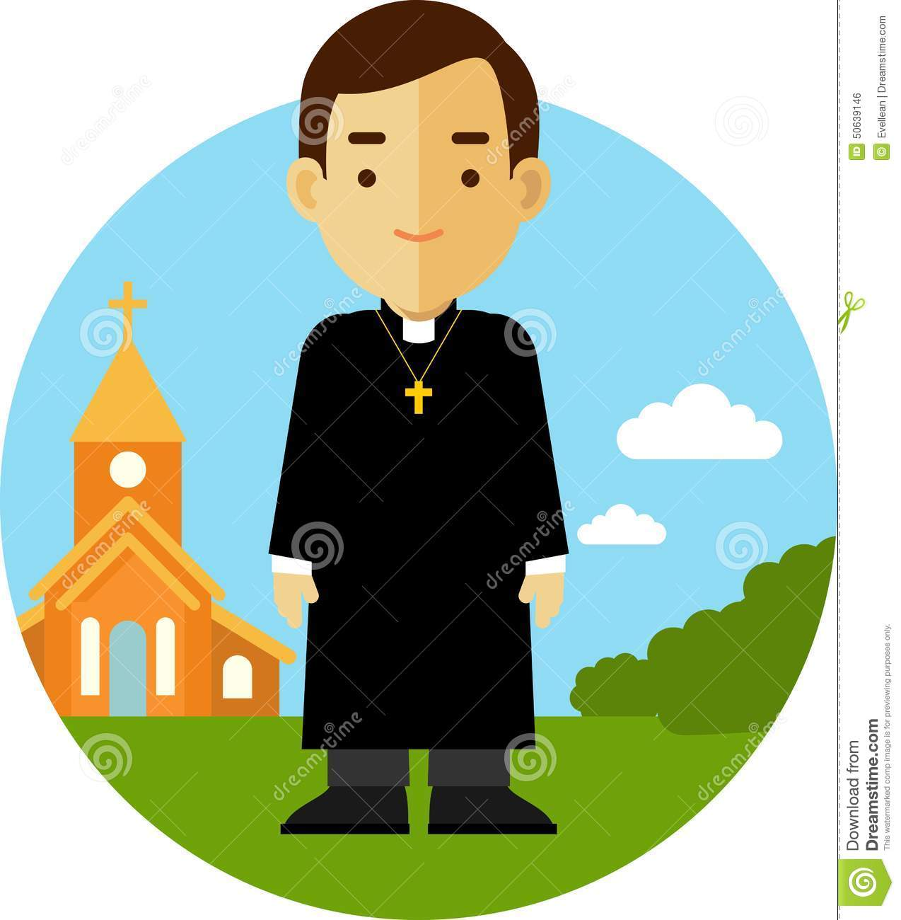 Catholic Priest On Church Background In Flat Style Stock ...