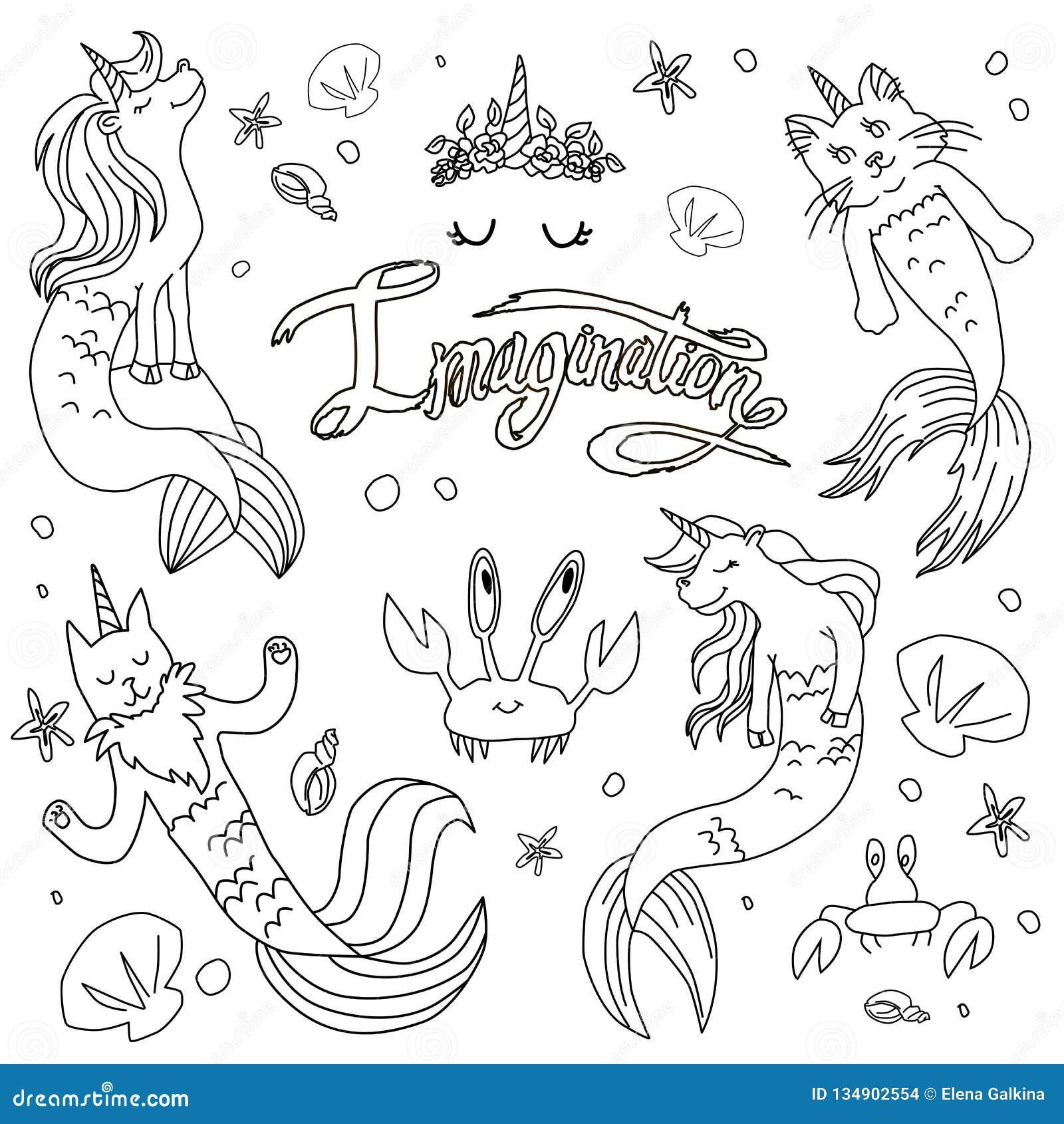 Caticorns And Unicorns Mermaid Vector Illustration Stock Vector
