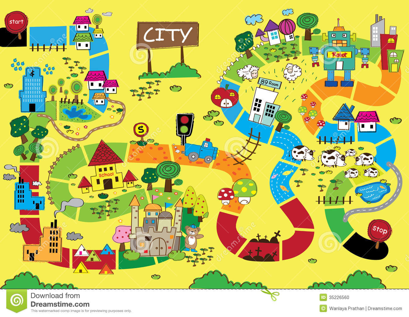Map Of The City Catoon Map of City stock vector. Illustration of animal   35226560