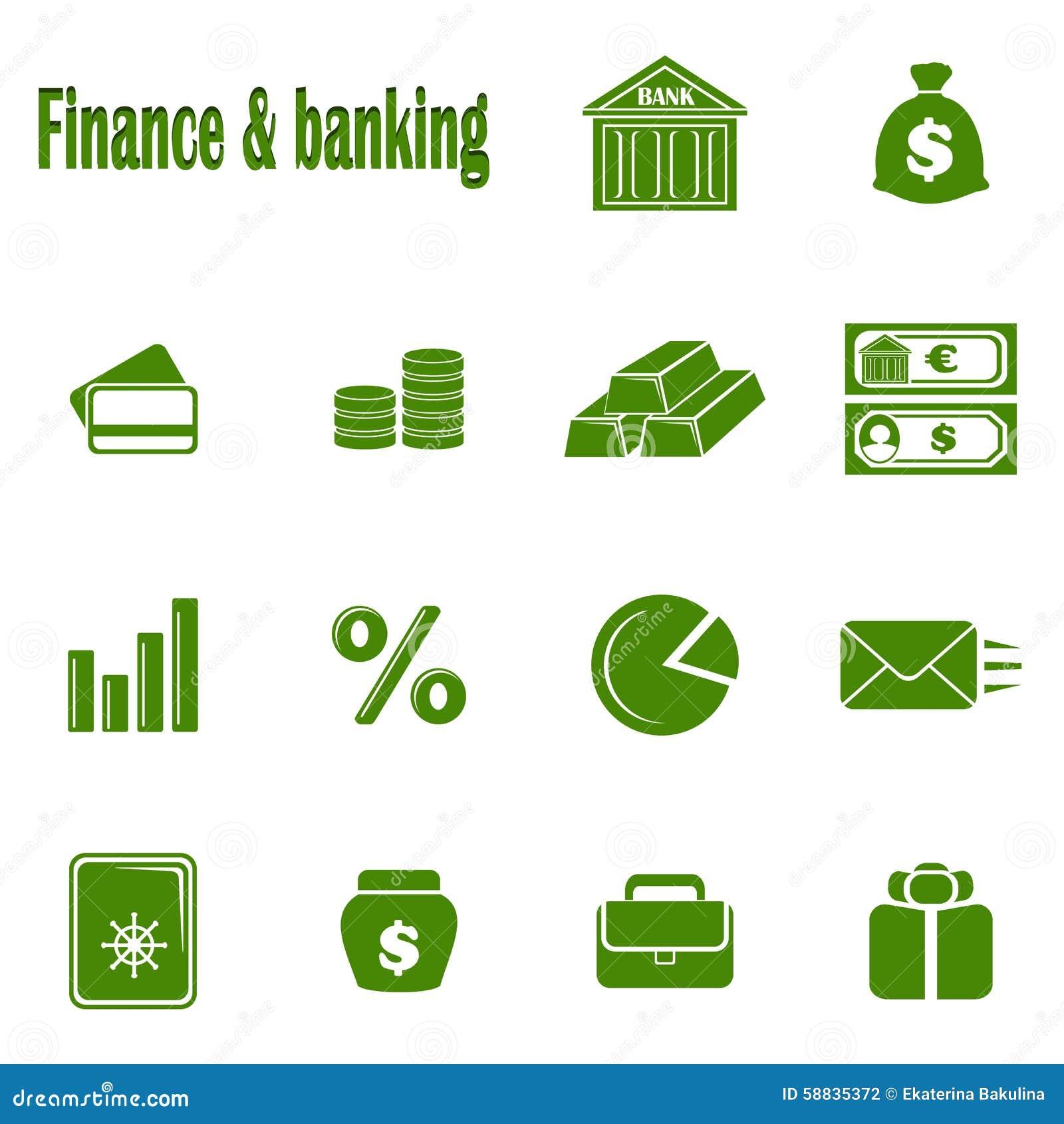 Catorce finanzas monocromáticas y actividades bancarias de los iconos