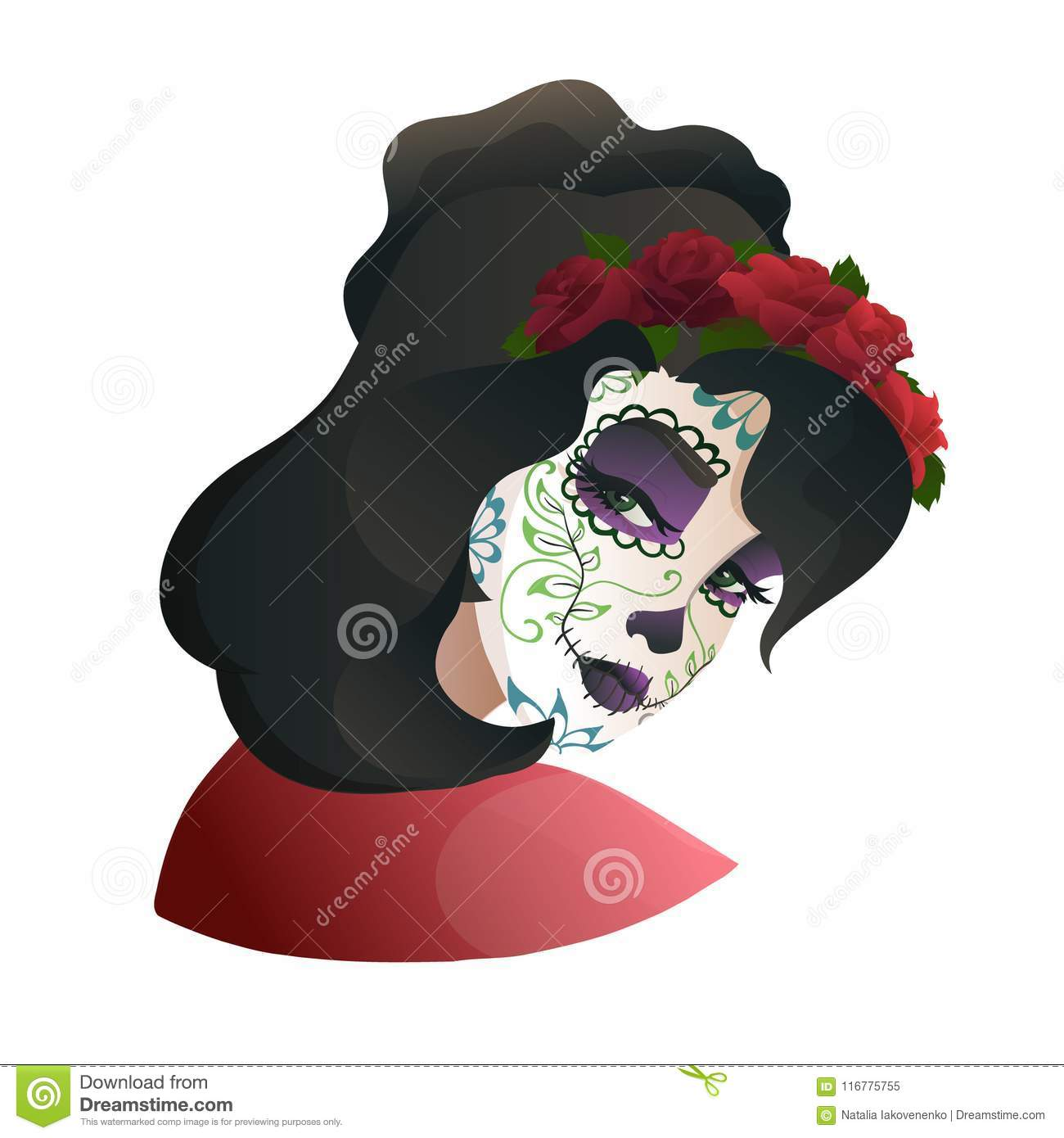 Catrina Day Of The Dead Symbol Of Mexico Stock Vector