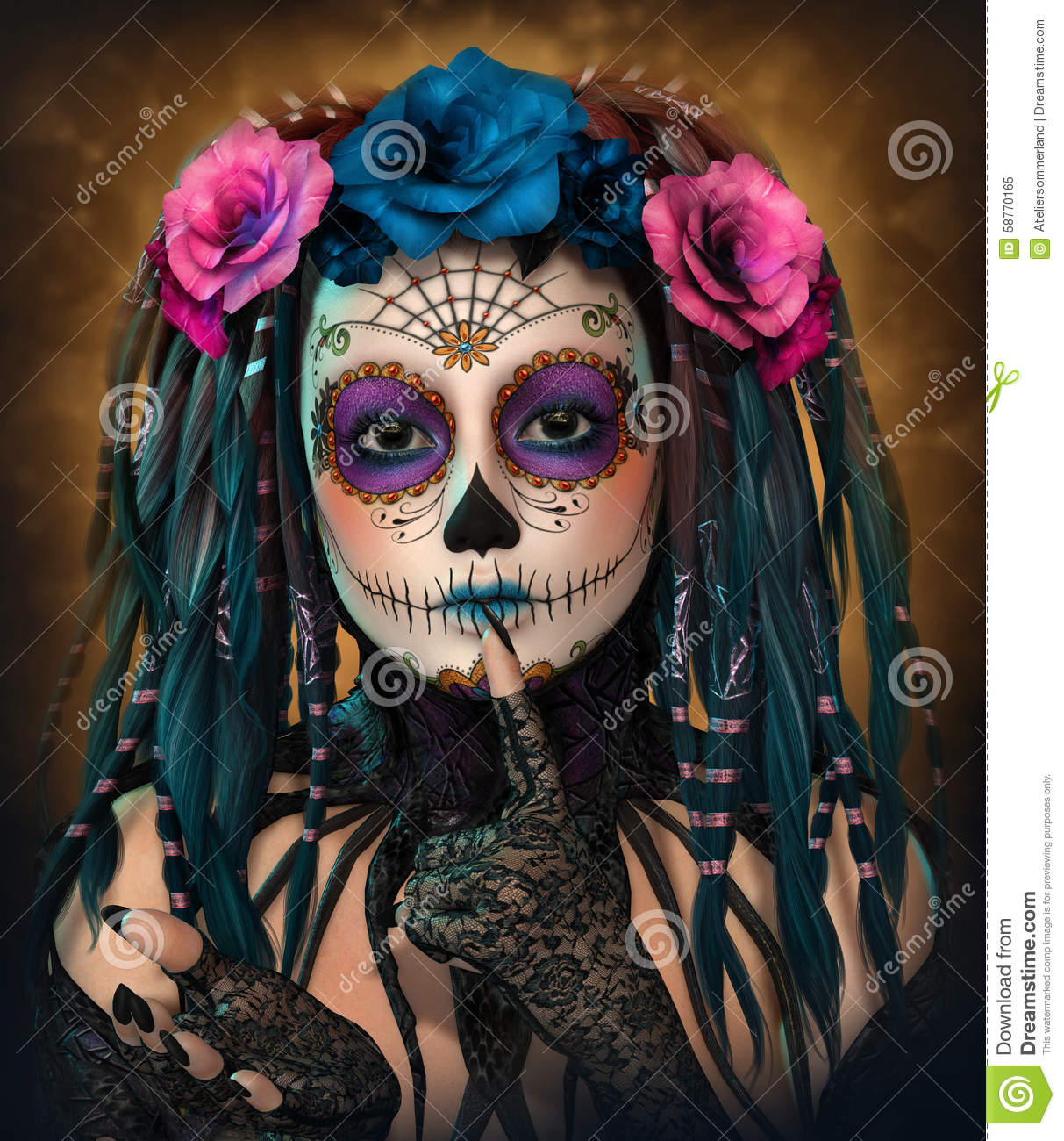 catrina girl 3d cg stock illustration illustration of mask 58770165. Black Bedroom Furniture Sets. Home Design Ideas
