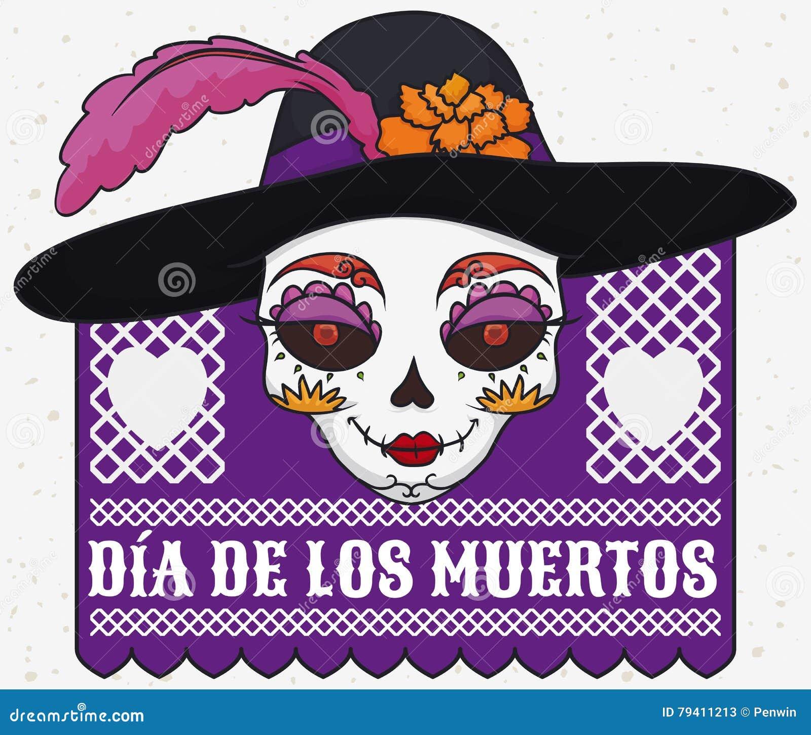 Cartel con el cráneo colorido del catrina que lleva un sombrero elegante  con la pluma y la maravilla para la celebración mexicana de y x22  ... 917f4c191eb