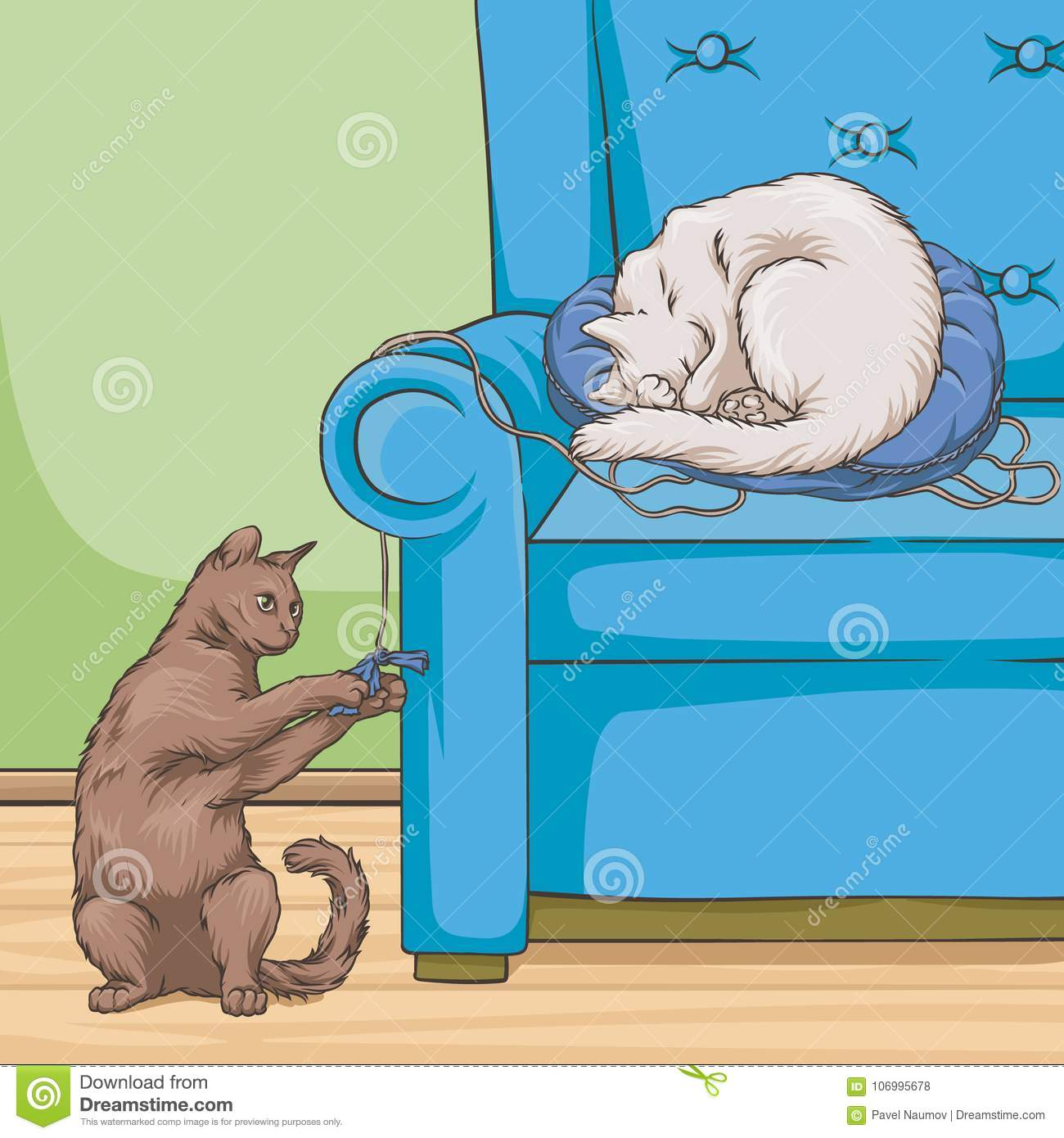 Cats in armchair, cute pet animal playing and resting vector Illustration