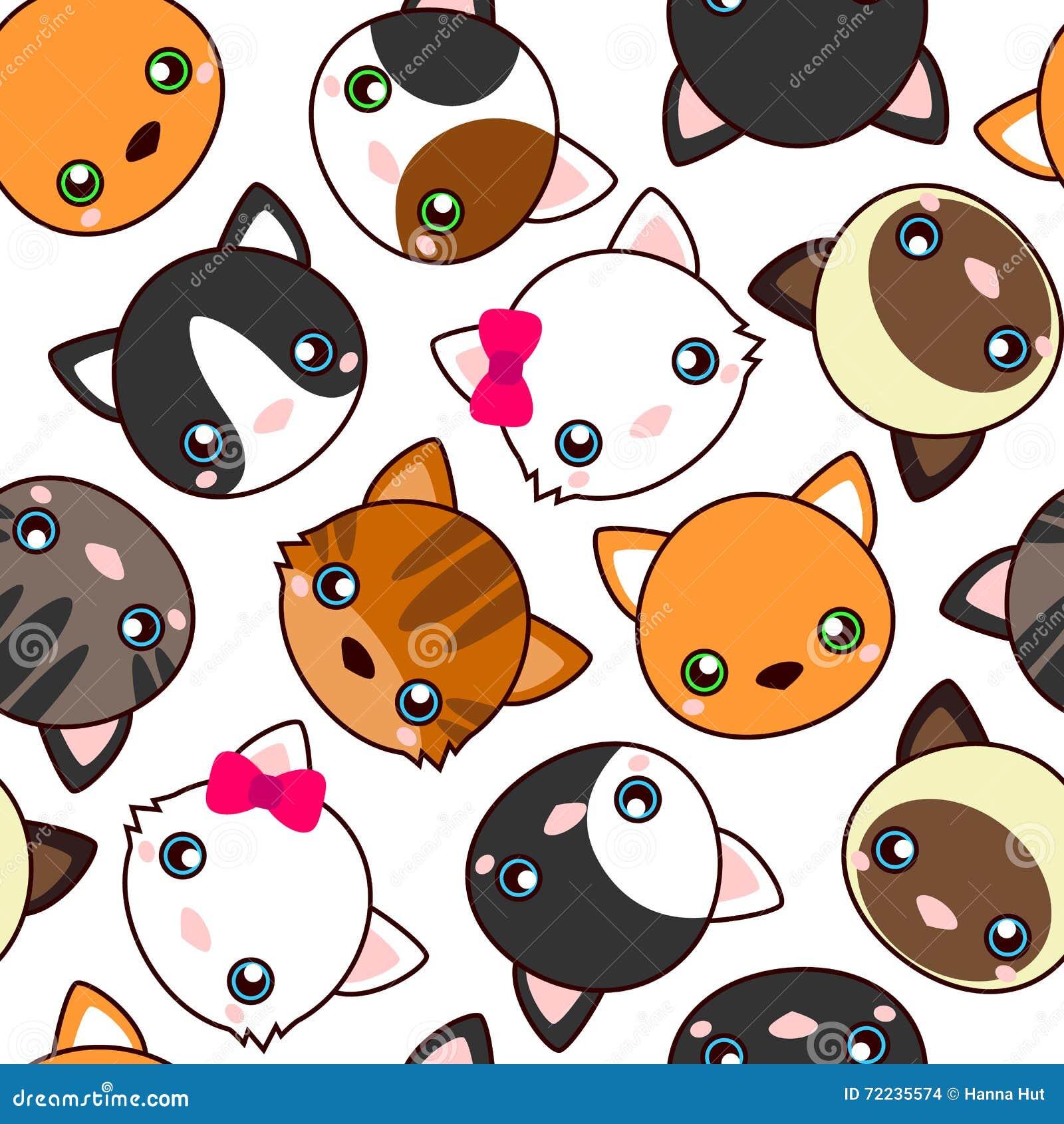 Cats. Cartoon vector seamless pattern, wallpaper.