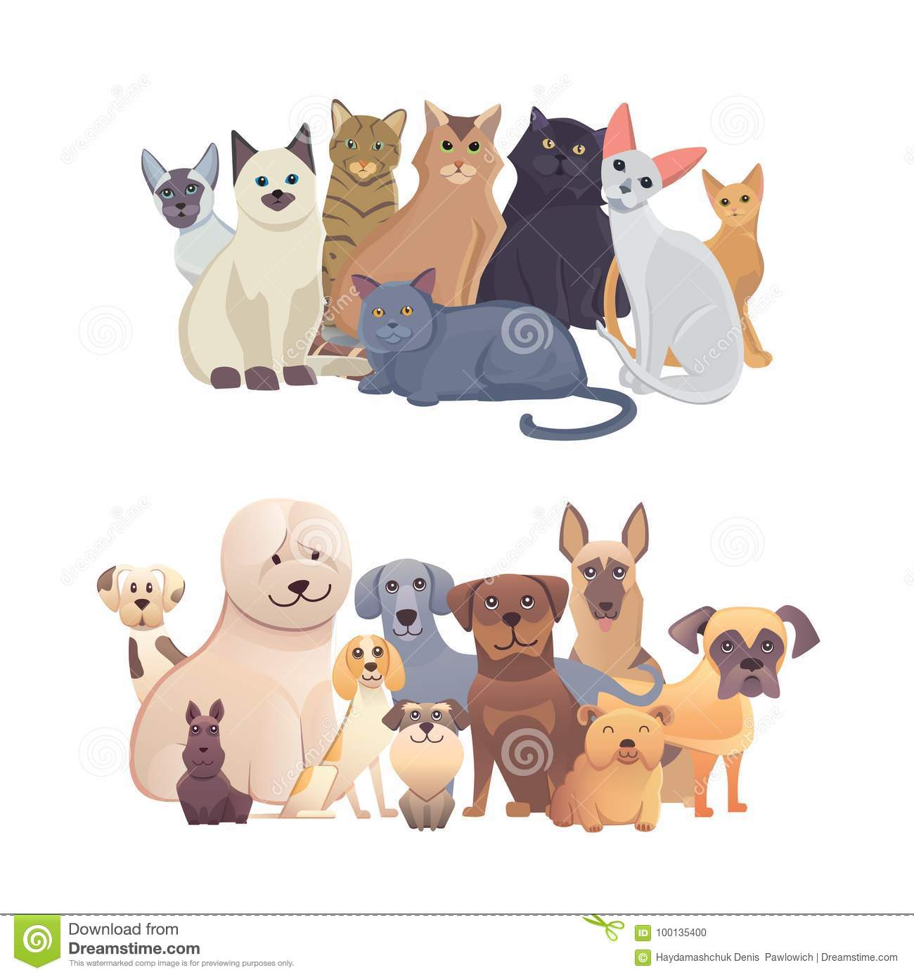 Cats and dogs border set, front view. Pets collection of cartoon illustrations