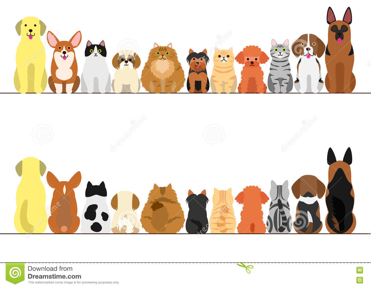 Cats And Dogs Border Set Stock Vector - Image: 81953621