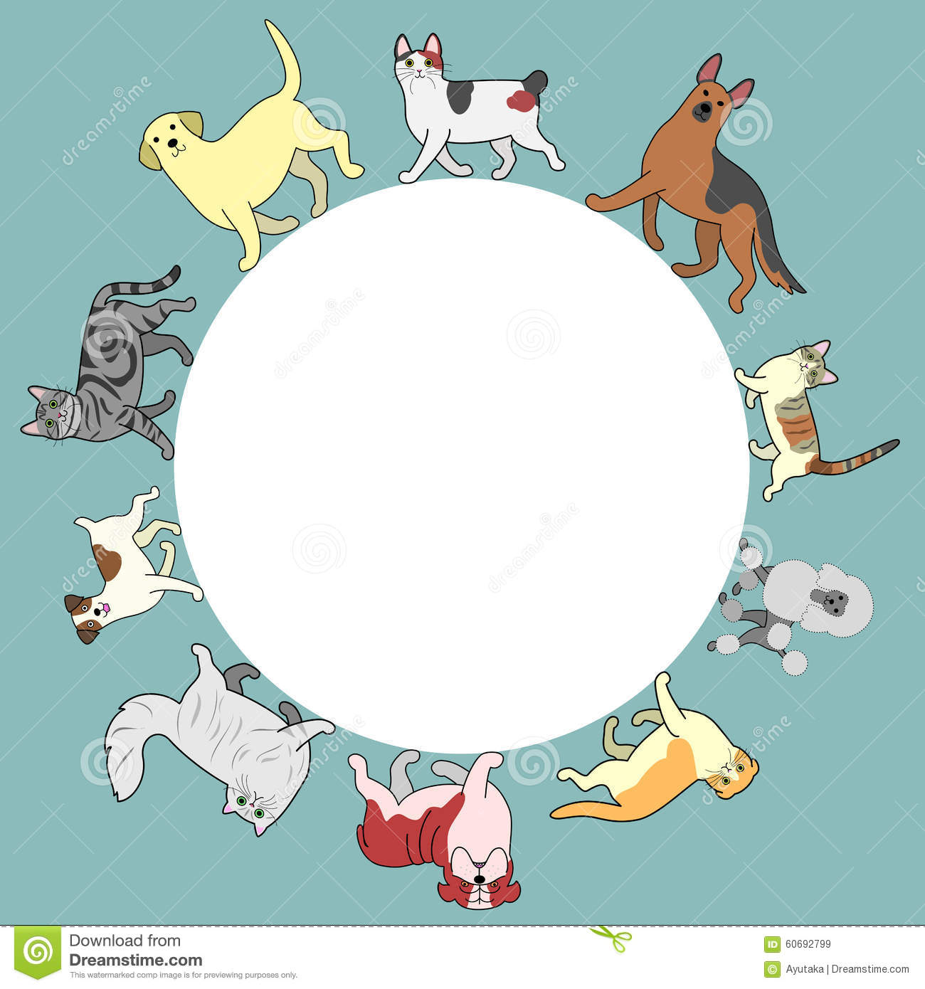 Cats And Dogs Circle Frame With Copy Space Stock Vector