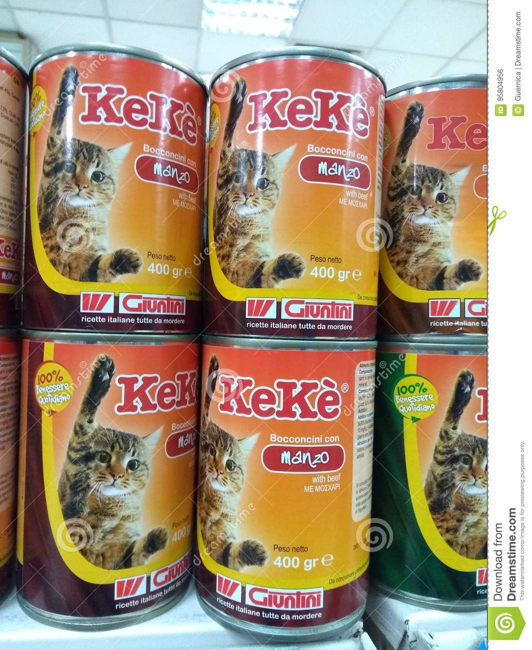 cats and dogs food at market on display