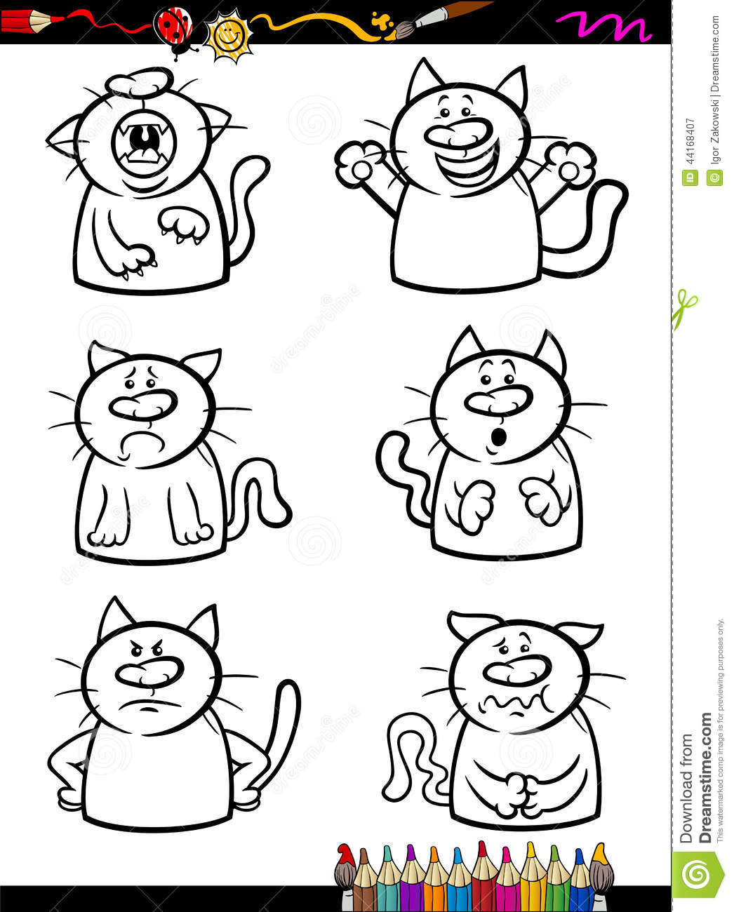 Cats emotion set cartoon coloring book stock vector for Emotions coloring pages for preschoolers