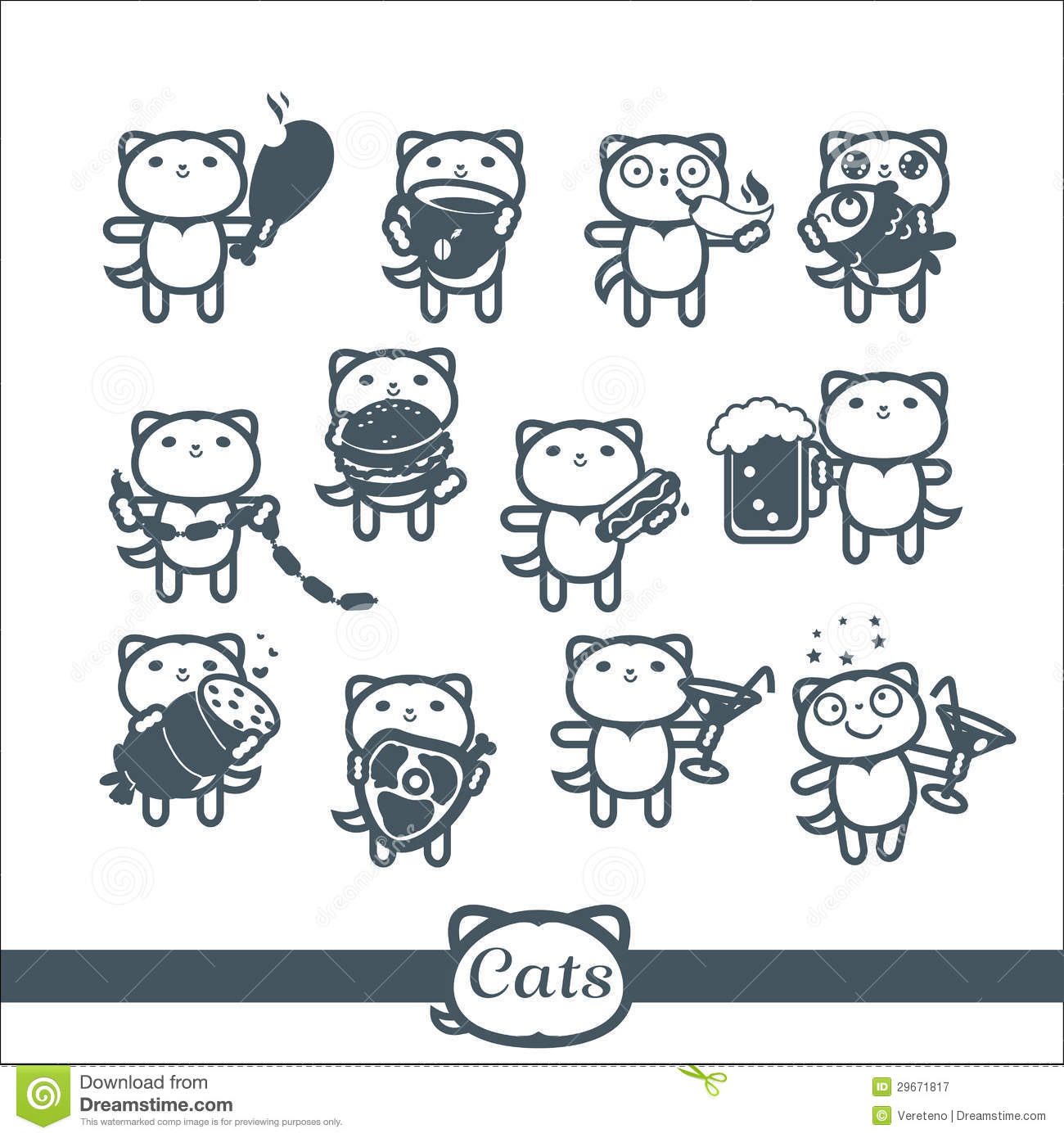 Cats Icons 12 Symbols Set Fast Food Stock Vector Illustration Of