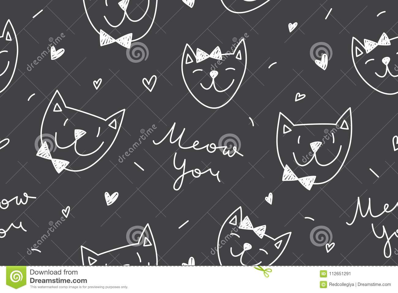 Cats In Love Pattern Stock Vector Illustration Of Background