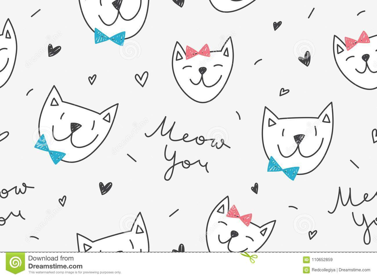 Cats In Love Pattern Stock Vector Illustration Of Gray 110652859