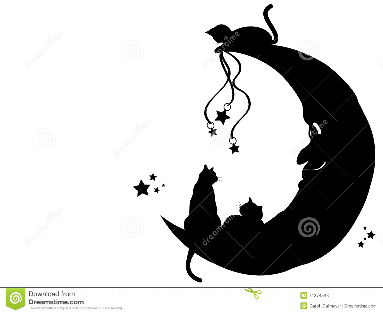 Silhouette Wall Stickers Cats On The Moon Stock Photos Image 31374543